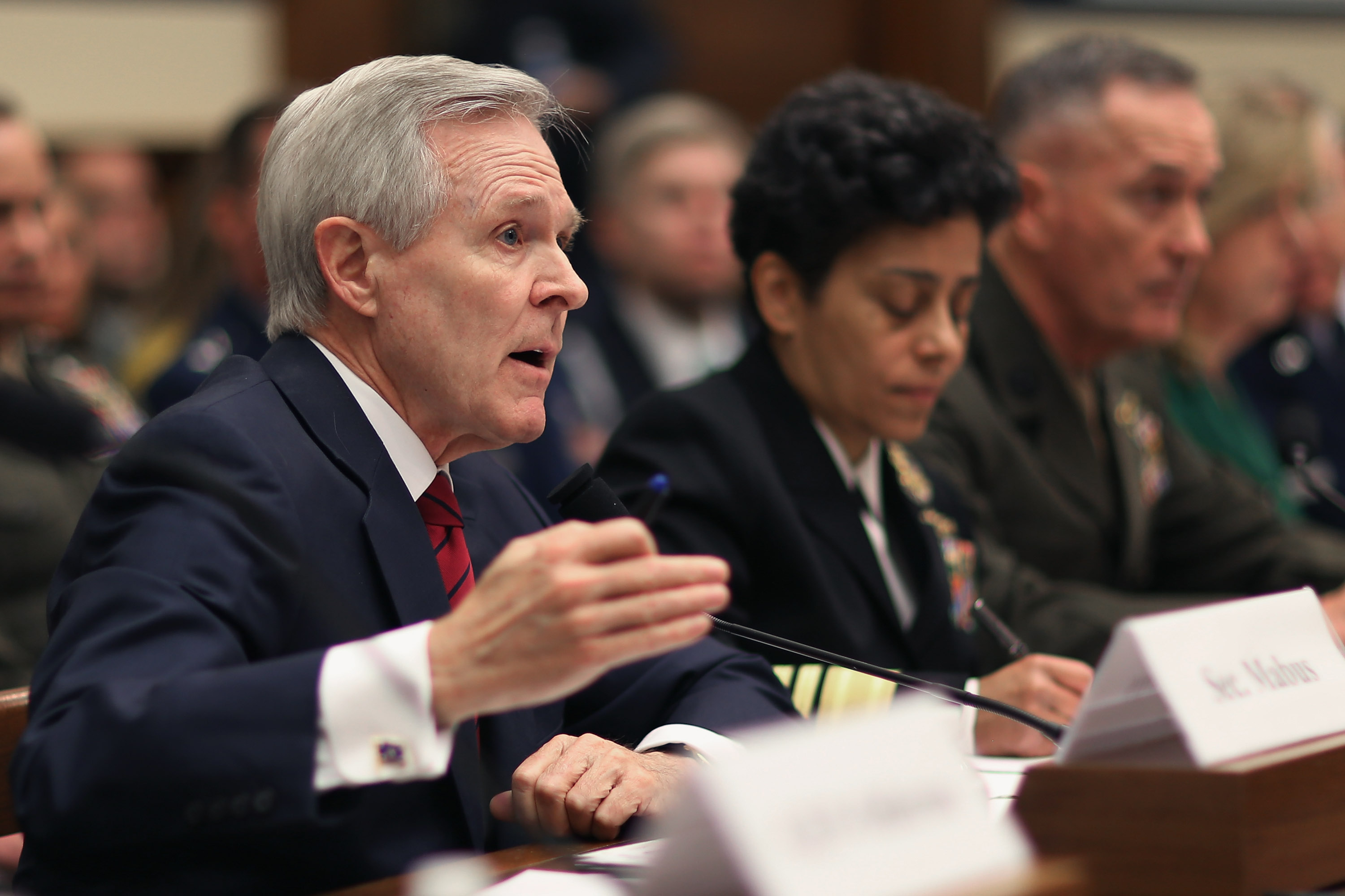 Secretary of the Navy Ray Mabus, Vice Chief of Naval Operations Adm. Michelle Howard, Commandant of the Marine Corps Gen. Joseph Dunford testify before the House Armed Services Committee about the FY2016 National Defense Authorization Budget Request in the Rayburn House Office Building on Capitol Hill on March 17, 2015.