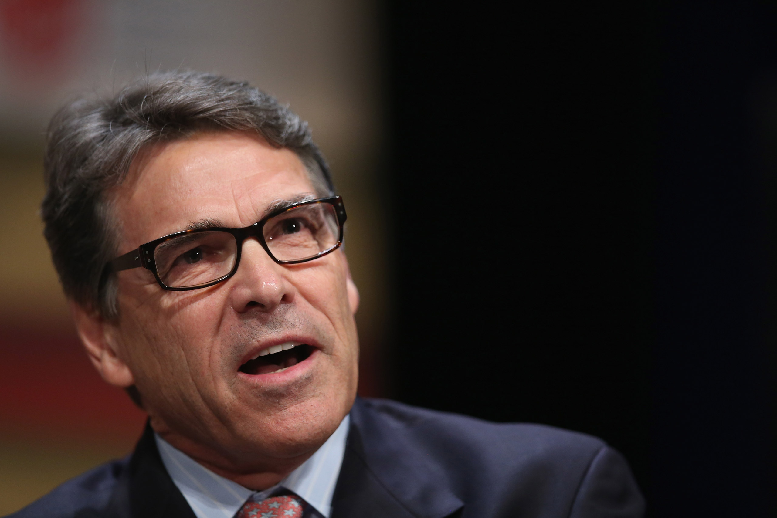 Former Texas Governor Rick Perry fields questions at The Family Leadership Summit at Stephens Auditorium in Ames, Iowa, on July 18, 2015.