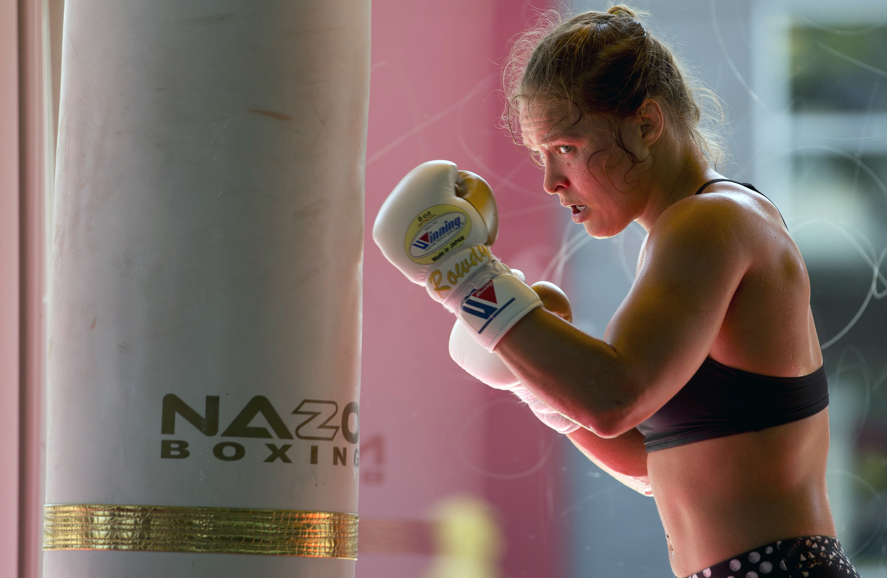 Ronda Rousey working out at in July 2015.
