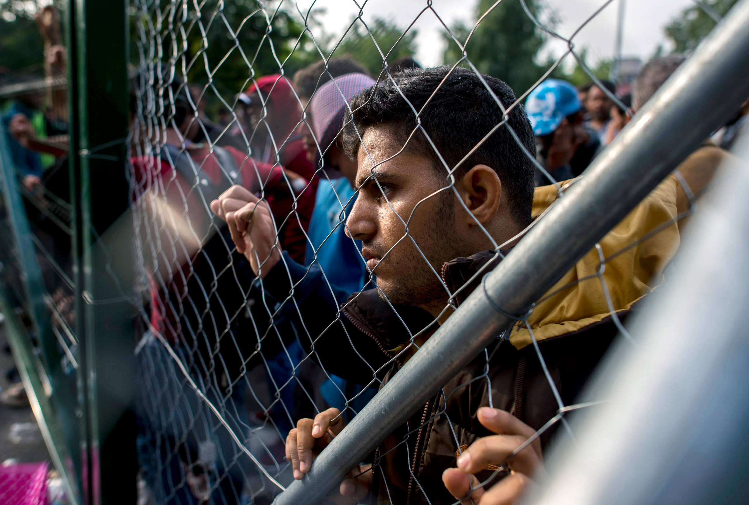 A migrant looks through a fence at the closed border crossing between Hungary and Serbia near Horgos, Serbia, on Sept. 15, 2015.