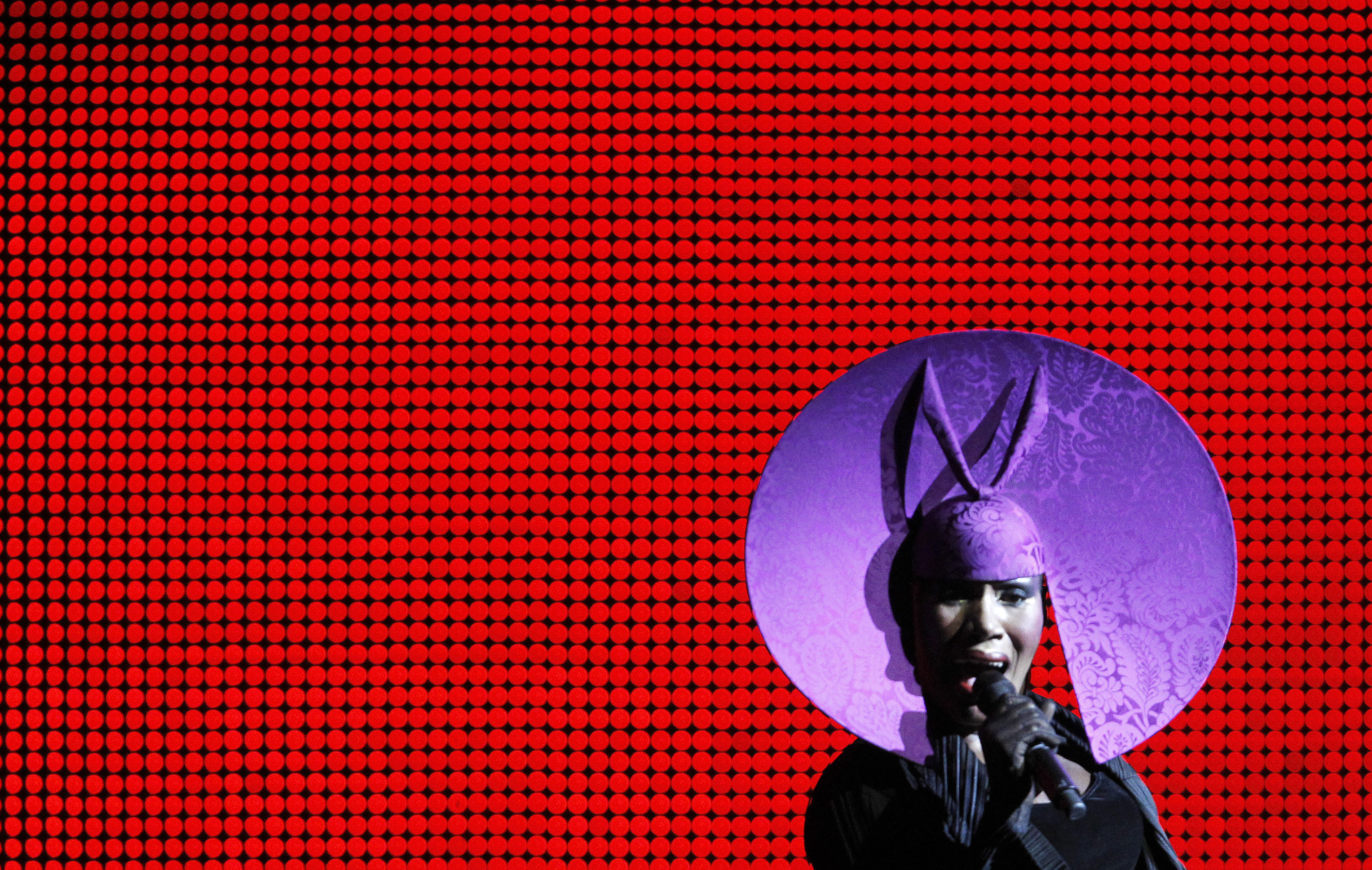 Grace Jones performs during the opening ceremony of the 61st FIFA Congress at the Hallenstadion in Zurich on May 31, 2011