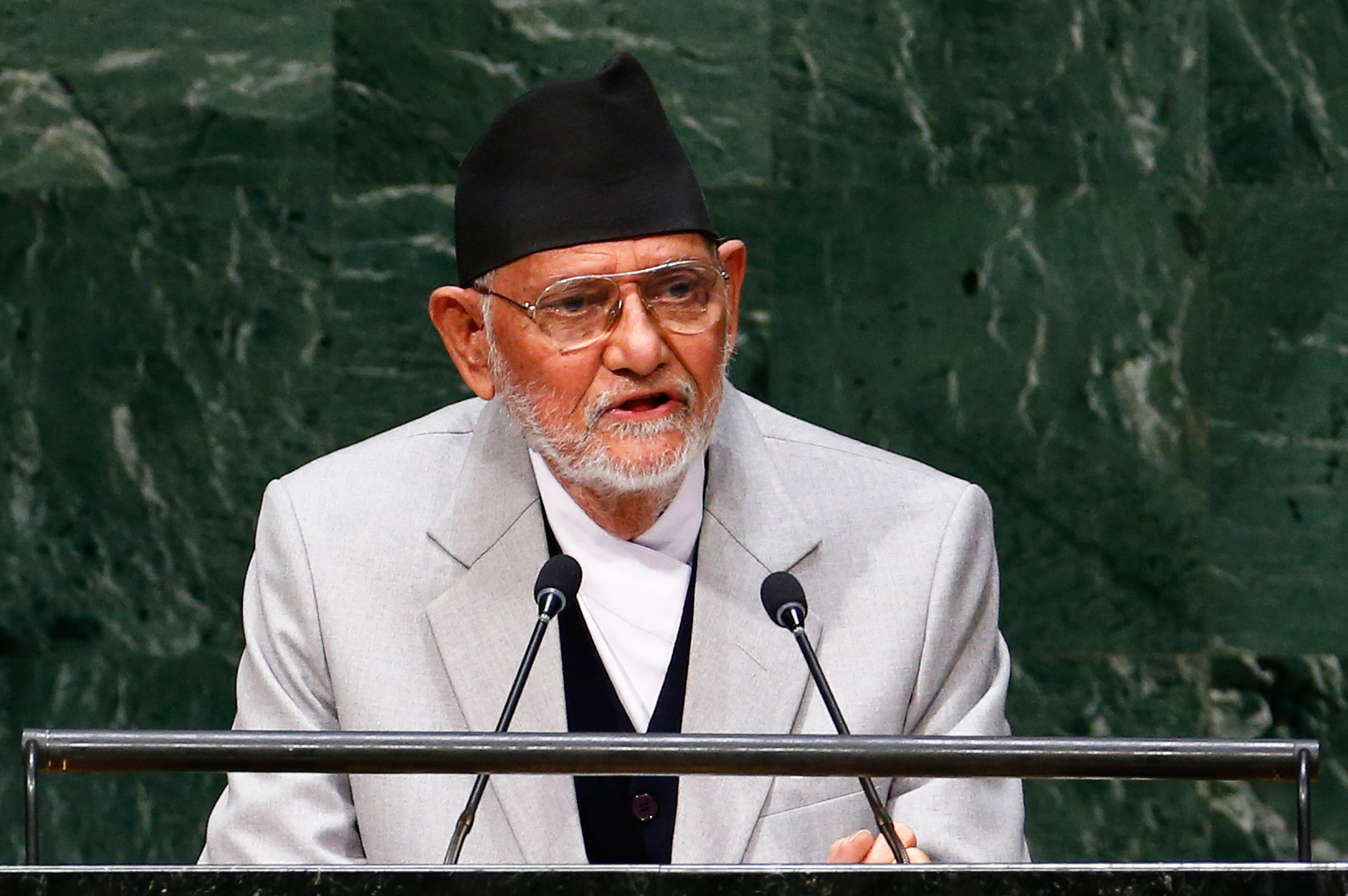 Sushil Koirala, Prime Minister of Nepal, addresses the 69th U.N. General Assembly in New York Sept. 26, 2014