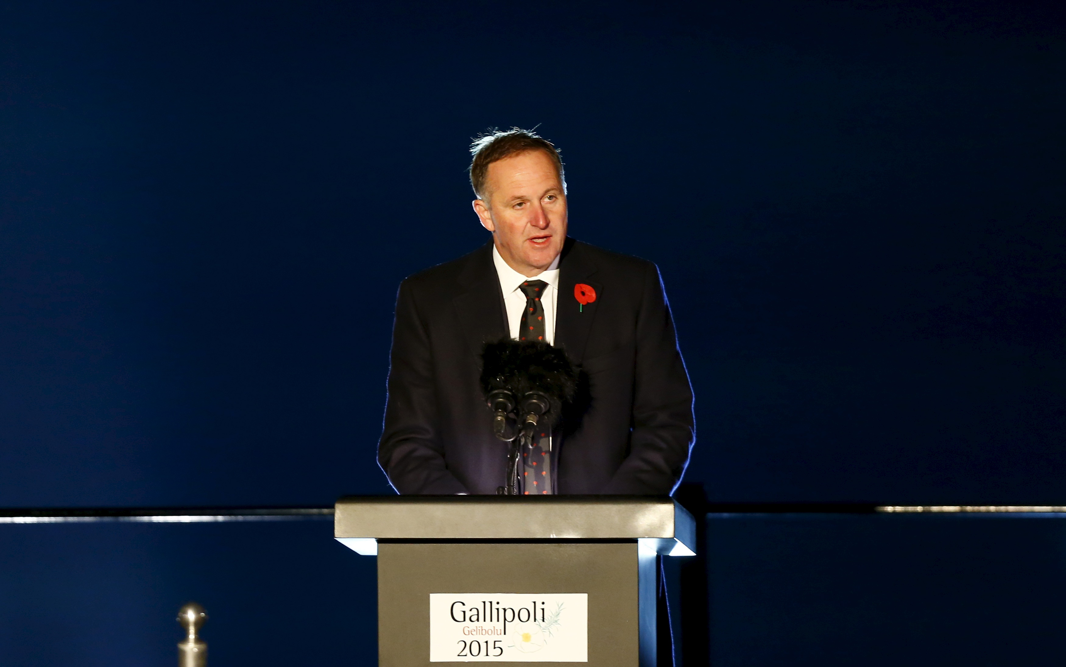 New Zealand's Prime Minister John Key speaks during a dawn ceremony marking the 100th anniversary of the Battle of Gallipoli, at Anzac Cove in Gallipoli April 25, 2015