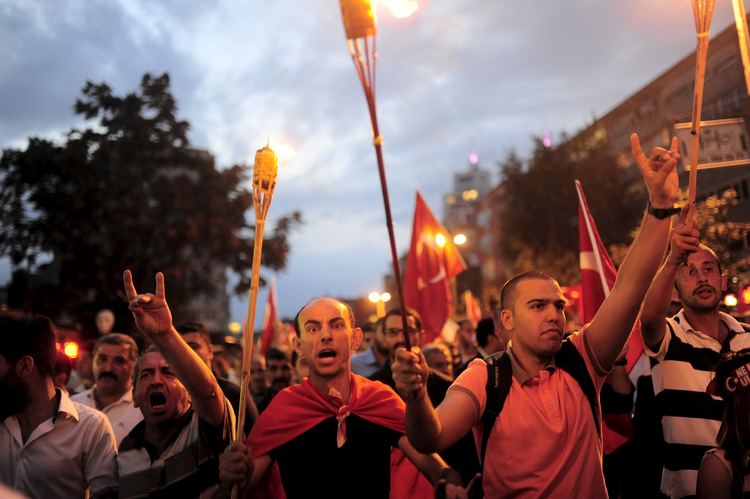Supporters of ultra-nationalist groups shout slogans during a protest against recent Kurdish militant attacks on Turkish security forces, in Istanbul, Turkey, September 8, 2015.