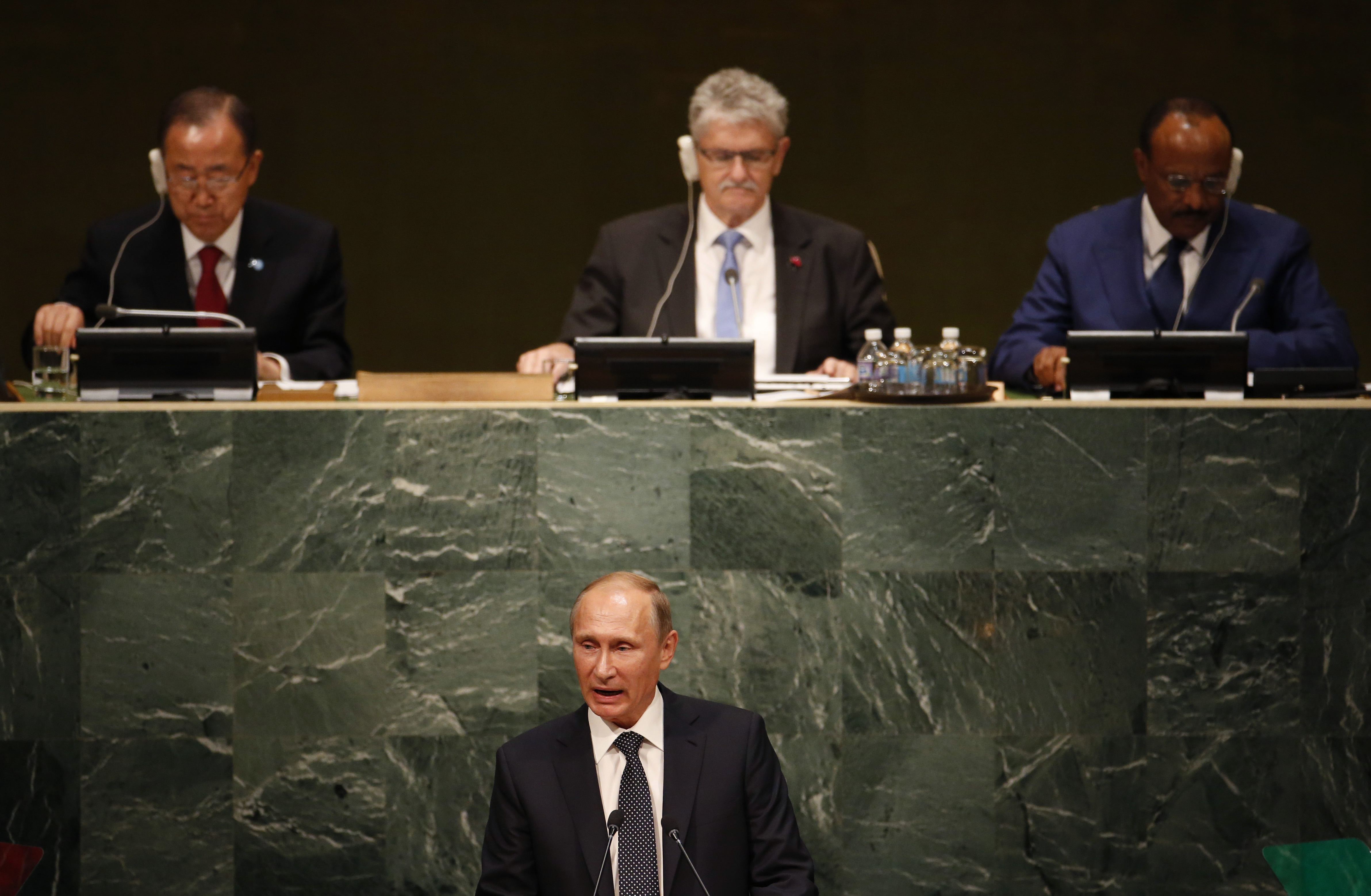 Russian President Vladimir Putin addresses the 70th session of the UN General Assembly on Monday
