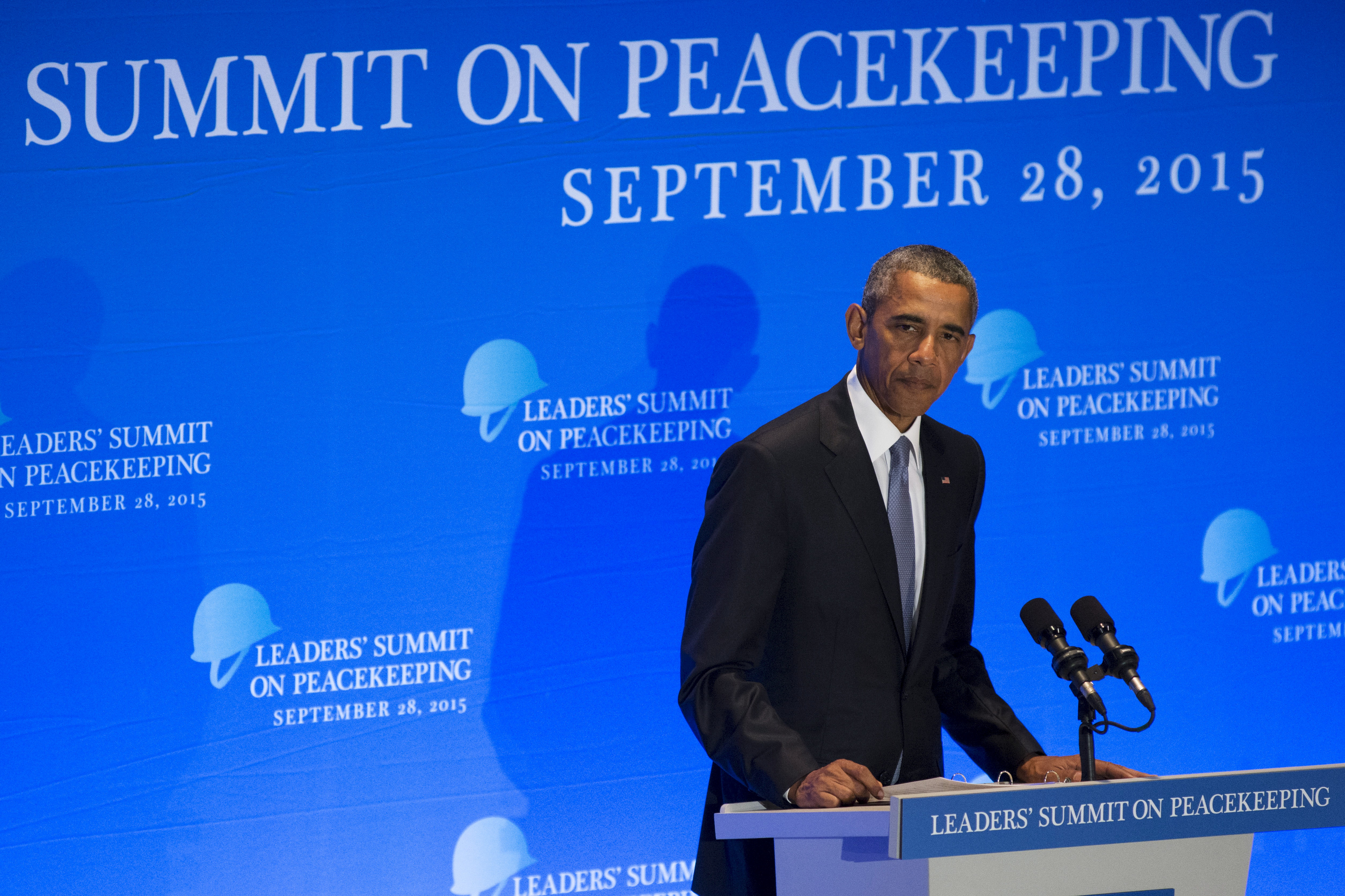 U.S. President Barack Obama delivers remarks during a Leaders Summit on Peacekeeping to coincide with the United Nations General Assembly at the United Nations in Manhattan, New York September 28, 2015.