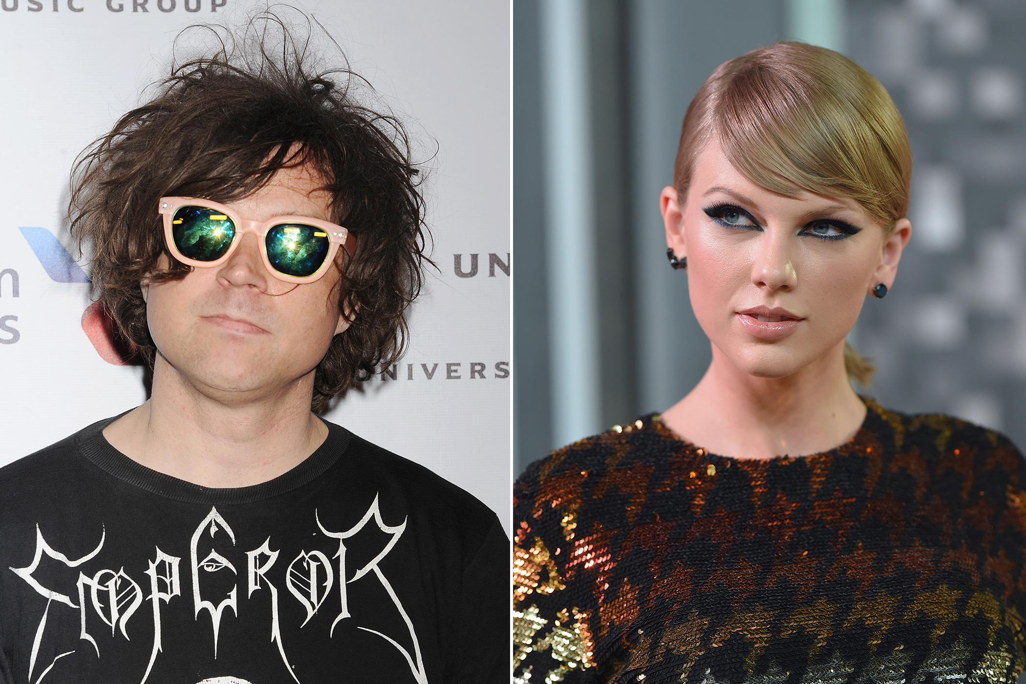Left:Ryan Adams attends the Universal Music Group 2015 Post GRAMMY Party at The Theatre Ace Hotel Downtown LA on Feb. 8, 2015 in Los Angeles; Right:Taylor Swift arrives at the 2015 MTV Video Music Awards at Microsoft Theater on Aug. 30, 2015 in Los Angeles