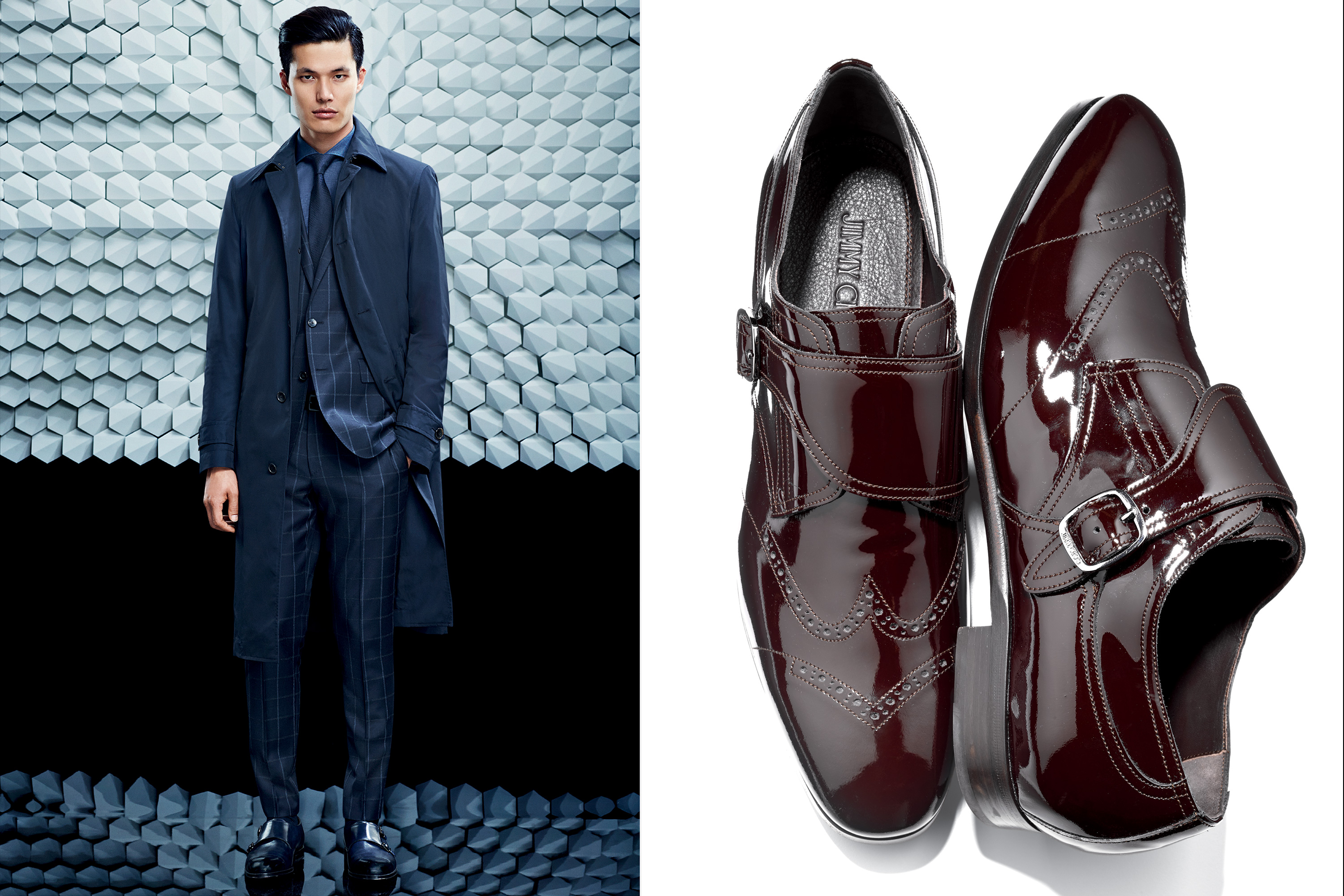 Left: Boss Coat, $845; Boss Suit, $1,095; Boss Shirt, $235; Boss Neckwear, $95; Boss Shoes, $445; Right: Jimmy Choo Etched Derby Shoes, $825
