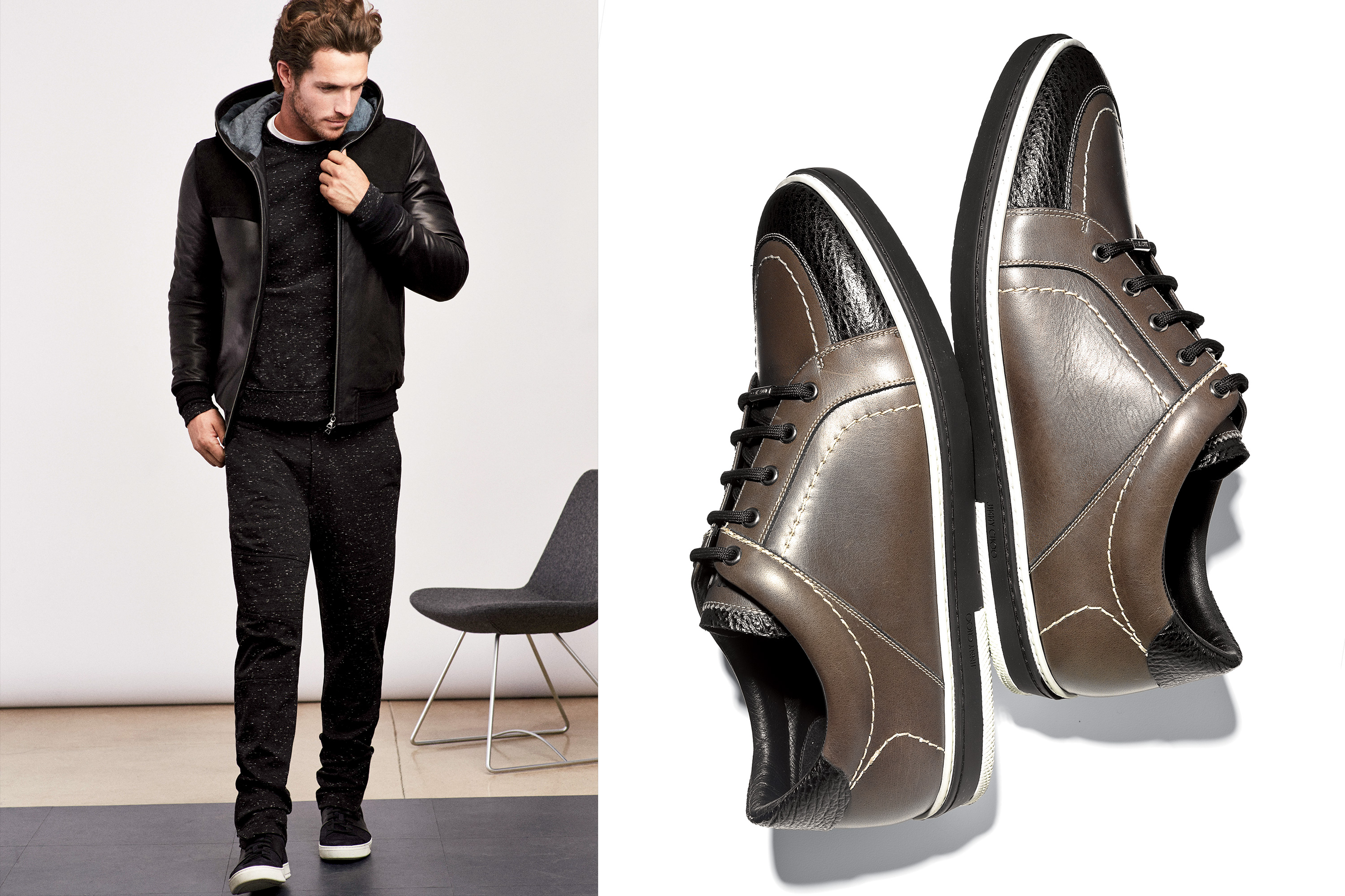 Left: Vince Moto Pant, Black, $225; Vince Sweater Raglan Crew, Black, $165; Vince Jacket Hooded Suede & Leather Jacket, Black, $1,095; Right : Jimmy Choo Origami Leather & Embossed Suede High-Top Sneakers, $795