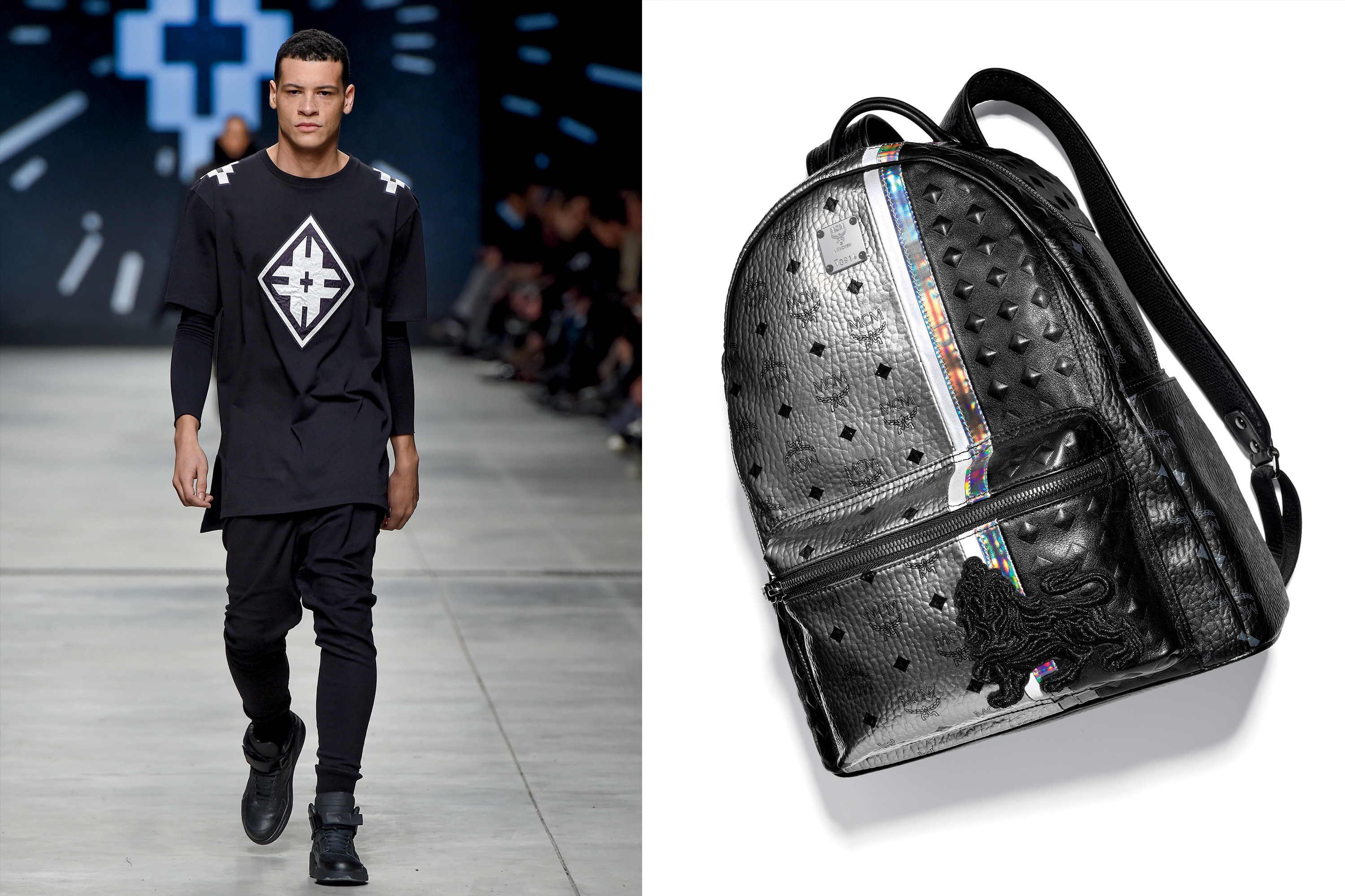 Left: Jimmy Choo Patent Leather Monk-Strap Shoes, $825; Right:MCM Munich Lion Coated Canvas Backpack, $1295
