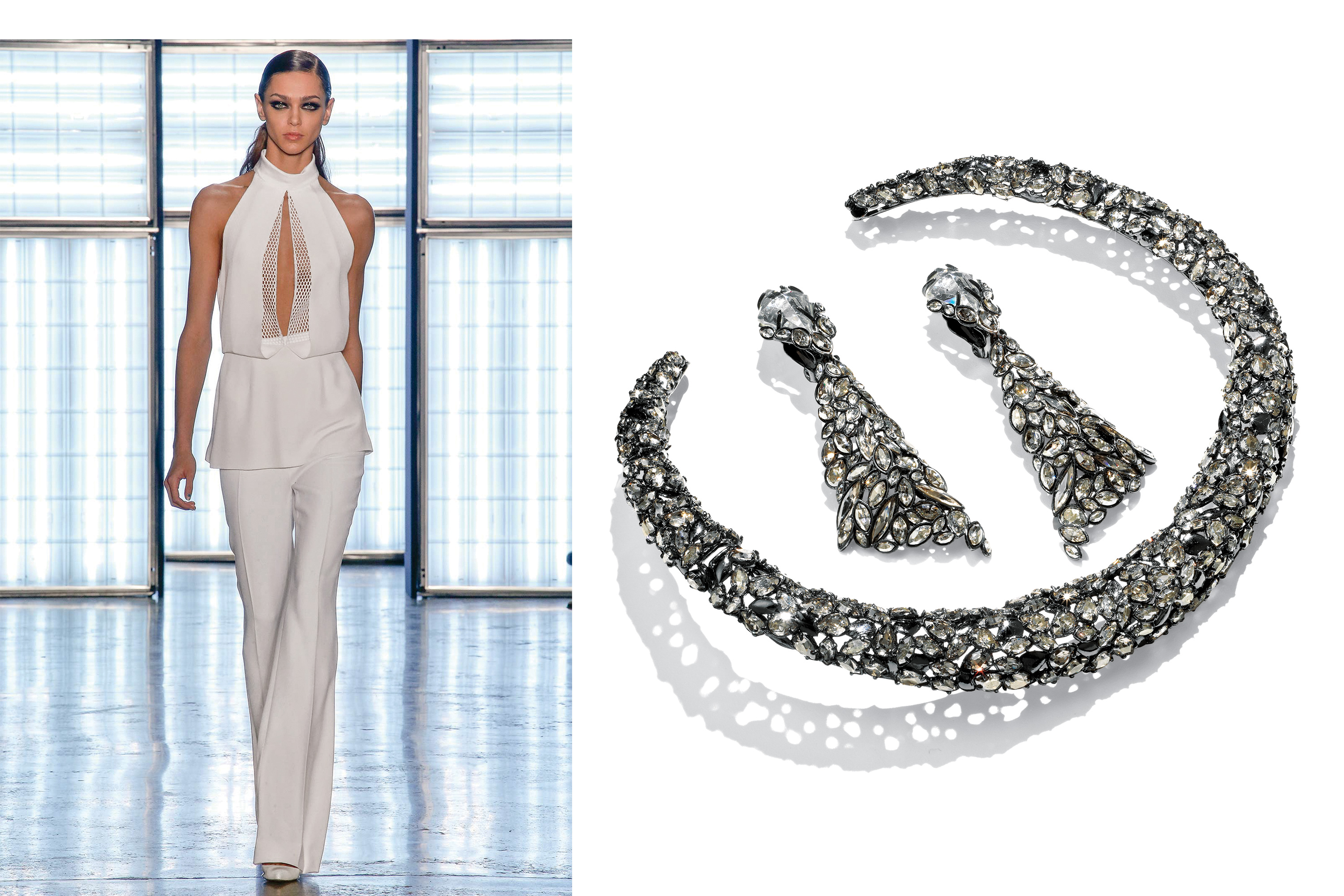 Left: Cushnie et Ochs White Silk Crepe and Honeycomb Mesh Halter Top, $895; Right: Alexis Bittar Pavo Hinged Collar Necklace, $595 and Earrings, $395