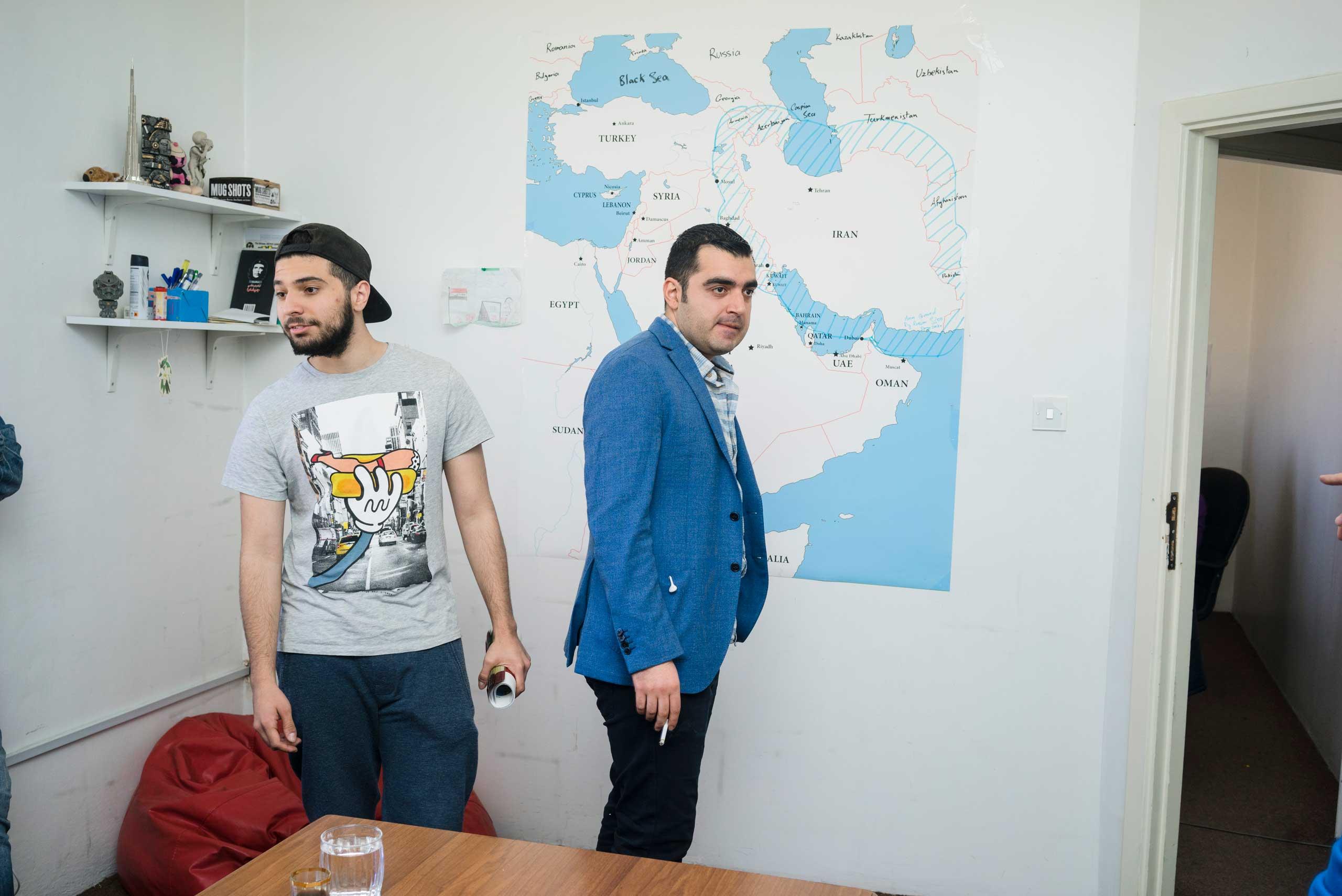 Shwan Sarheng (Left), Ahmad Al-Basheer (Right) at the Al-Basheer show studios in Amman Jordan.