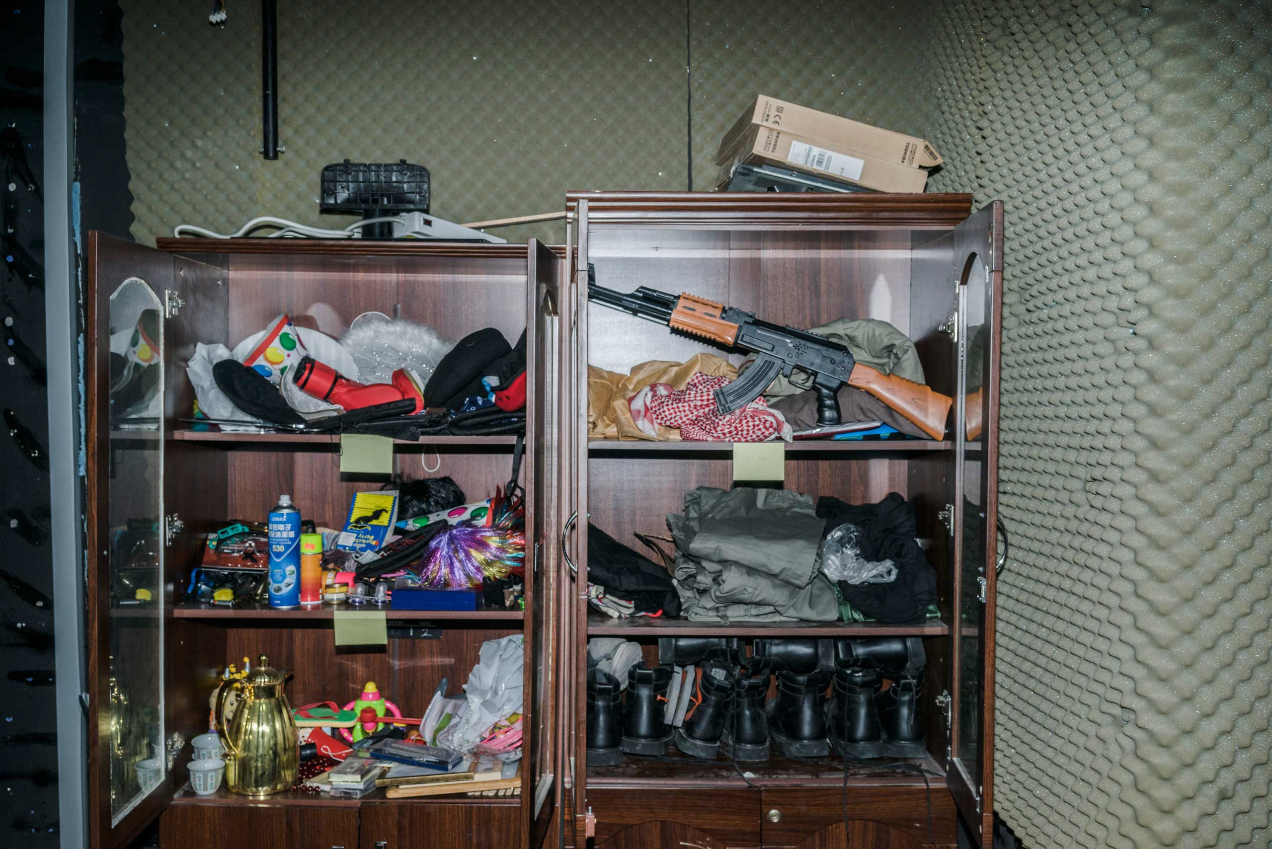 The wardrobe store cupboard at a studio room where the Al-Basheer show in Amman Jordan.