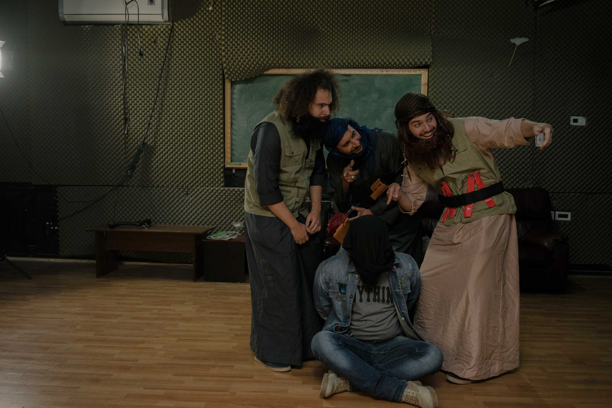 Alhakam Turki, Shwan Sarheng, Mustafa Saedi at the Al-Basheer show in Amman Jordan prepare sketches in the show's studio in Amman, Jordan.