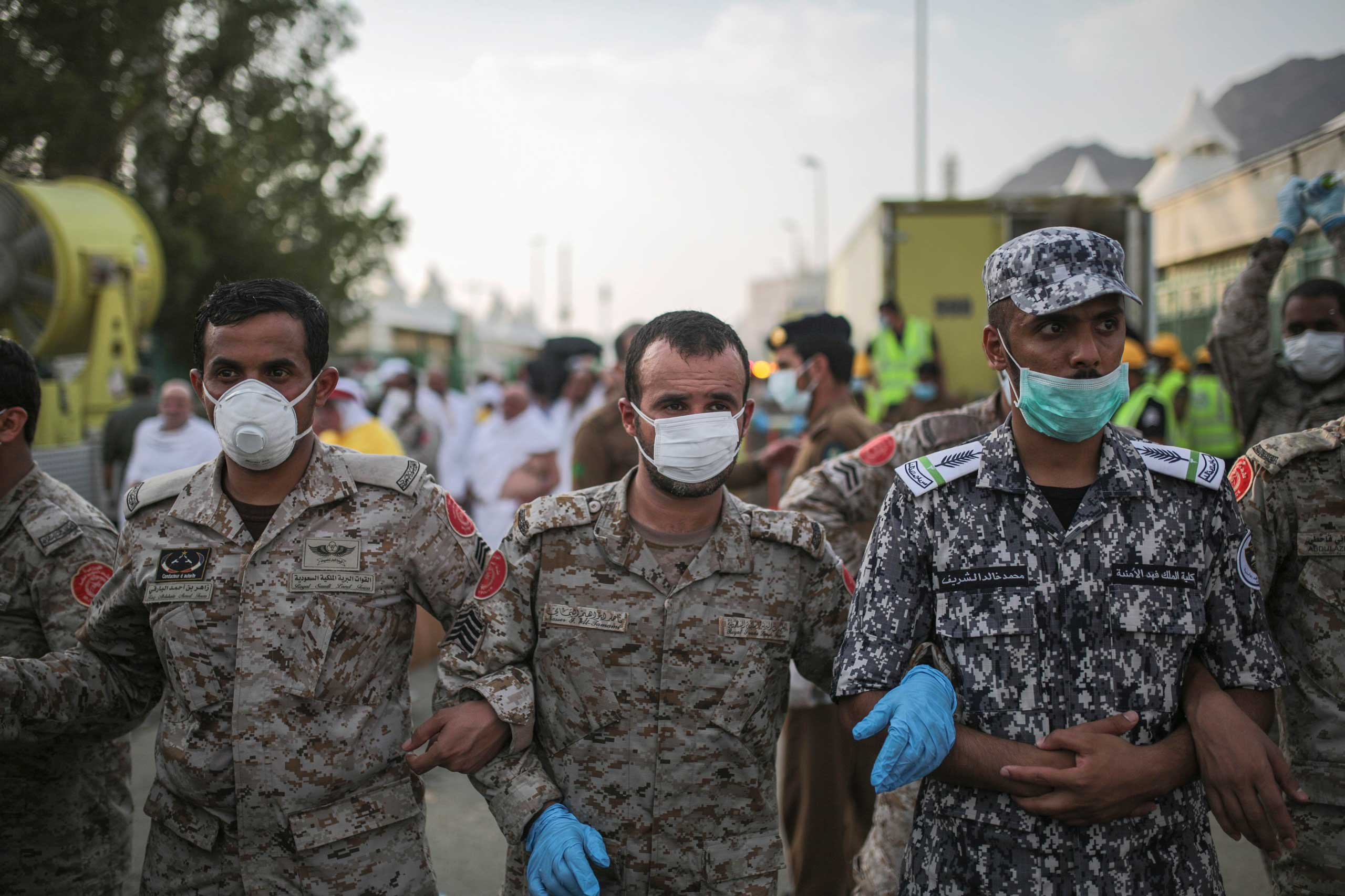 Saudi security forces cordon the site where pilgrims were crushed and trampled to death during the annual hajj pilgrimage in Mina, Saudi Arabia, on Sept. 24, 2015.