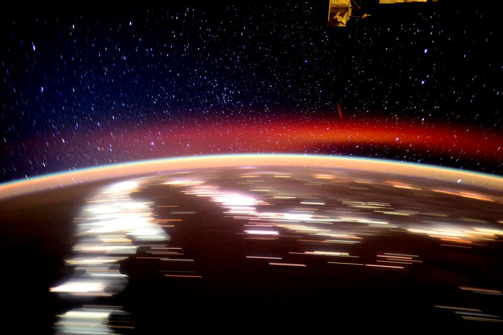 Day 158. Chasing the next sunrise among the #stars over evening lights. Good night from @space_station! #YearInSpace  - via Twitter on Sept. 1, 2015