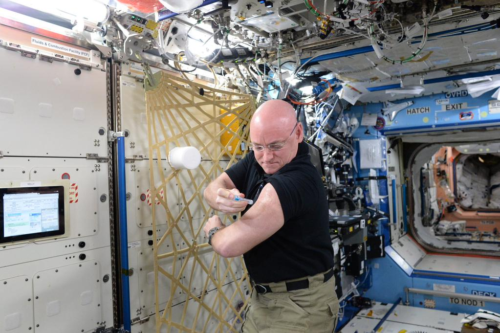 Got a flu shot in space today for @ISS_Research. Your turn, @ShuttleCDRKelly! http://go.nasa.gov/1WkXhxe  #YearInSpace  - via Twitter on Sept. 24, 2015