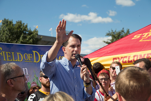 Republican presidential candidate, Wisconsin Gov. Scott Walker speaks to fans tailgating outside Jack Trice Stadium before the start of the Iowa State University versus University of Iowa football game on September 12, 2015 in Ames, Iowa.