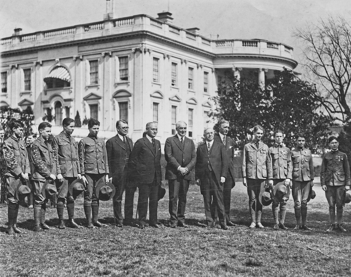 US President Warren G. Harding (1865 - 1923) receives a group of Eagle Boy Scouts at the White House, Washington, D.C., March 16, 1921.