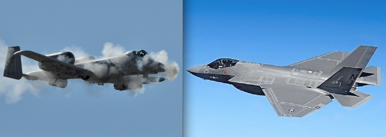 The Pentagon plans to test the A-10, left, against the F-35 in 2018.