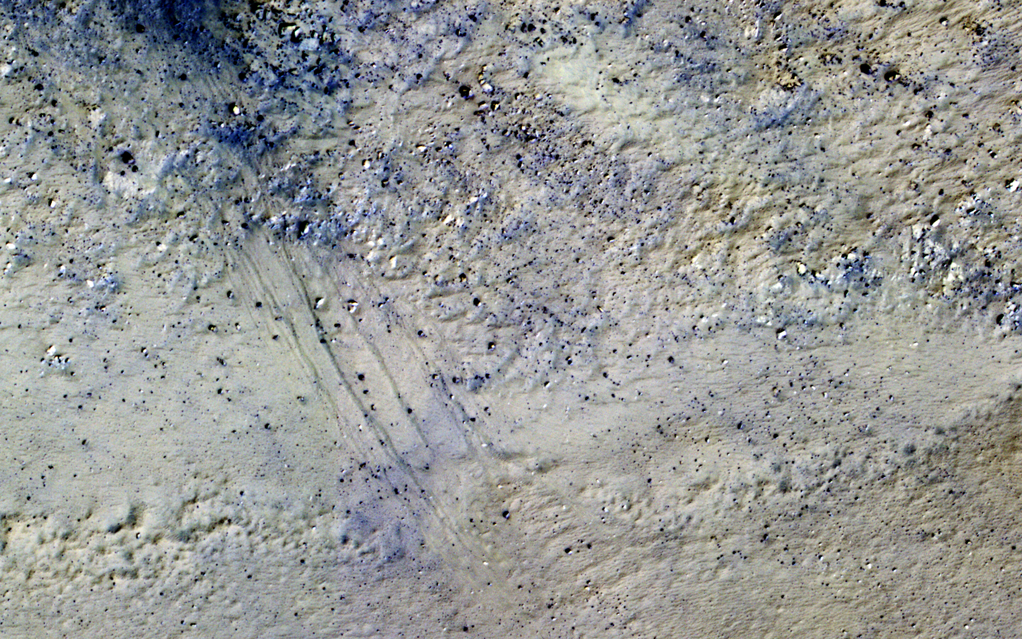 This image shows the central peak in Porter Crater, acquired on April 17, 2015.