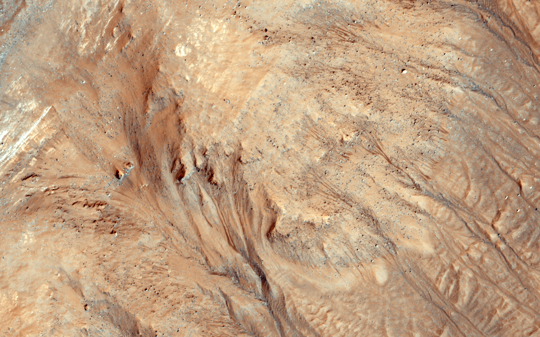 Ravines (or very large gullies) are actively forming on Mars during the coldest times of year, when carbon dioxide frost aids mass wasting. In this image, acquired on March 25, 2015, we see warm-season flows in cold-season ravines.