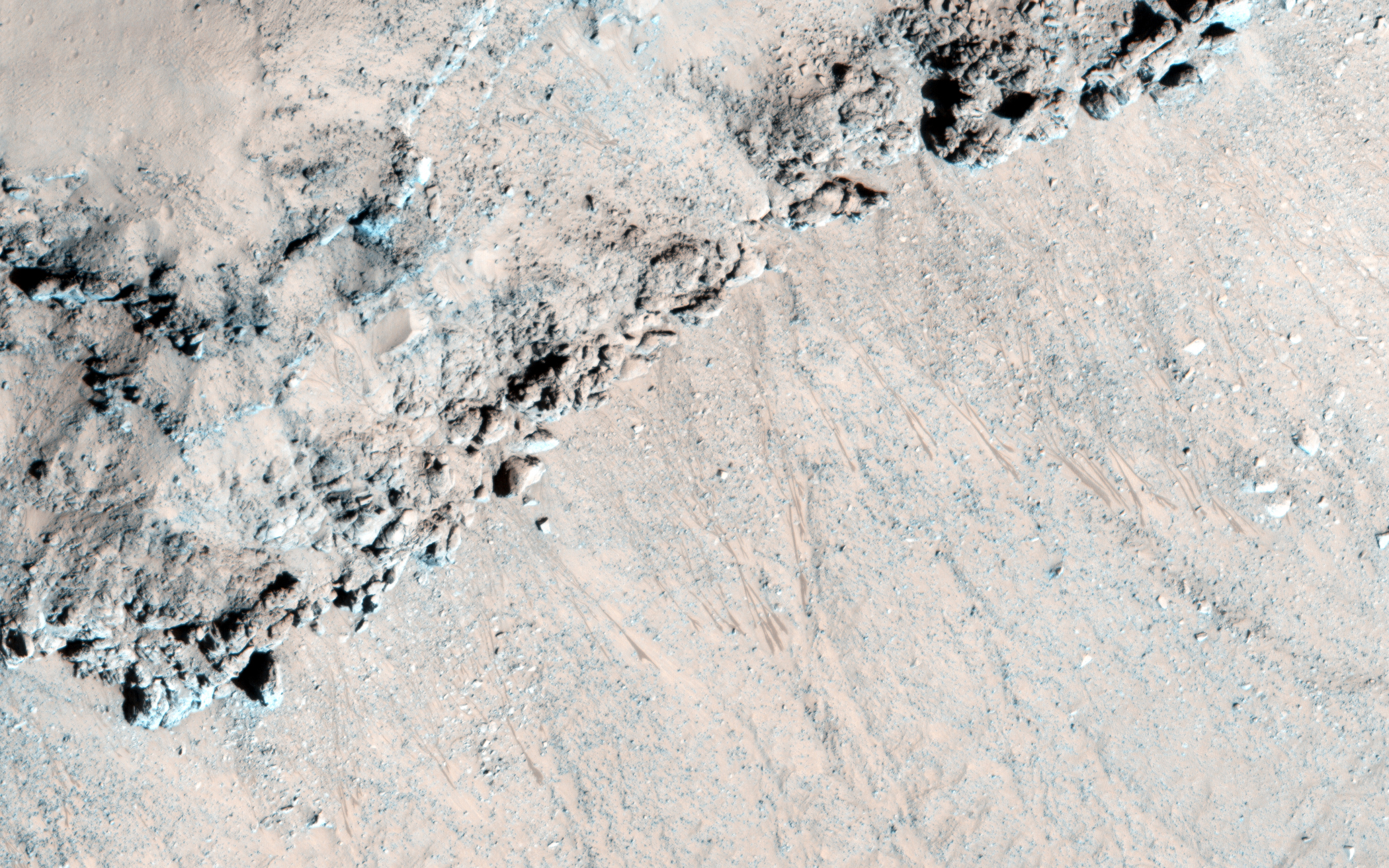 An image of the southeast rim of Hale crater, acquired on Nov. 13, 2014