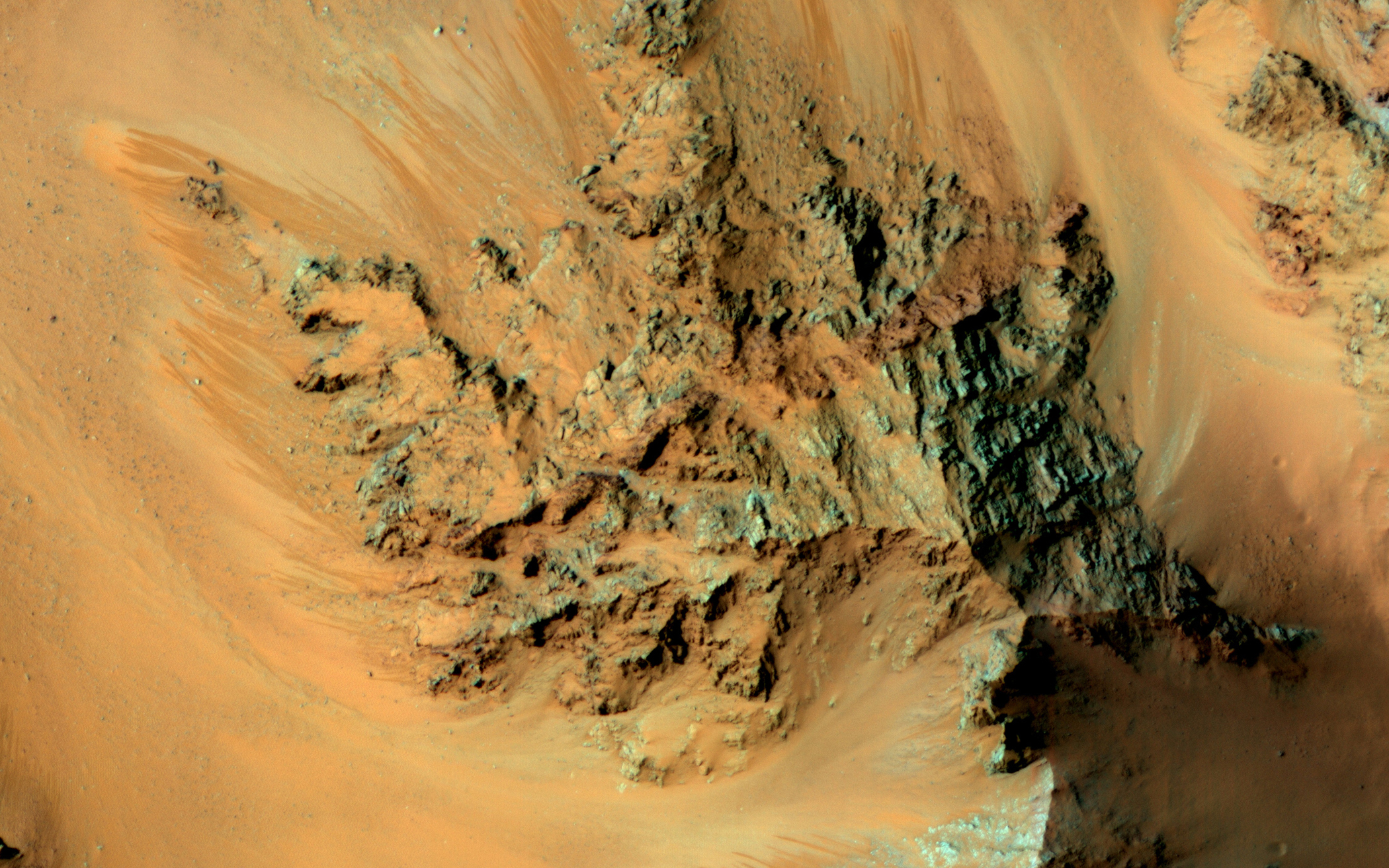 This RSL is one of the most active sites known on Mars in the central peaks of Hale Crater, acquired on Feb. 20, 2015.