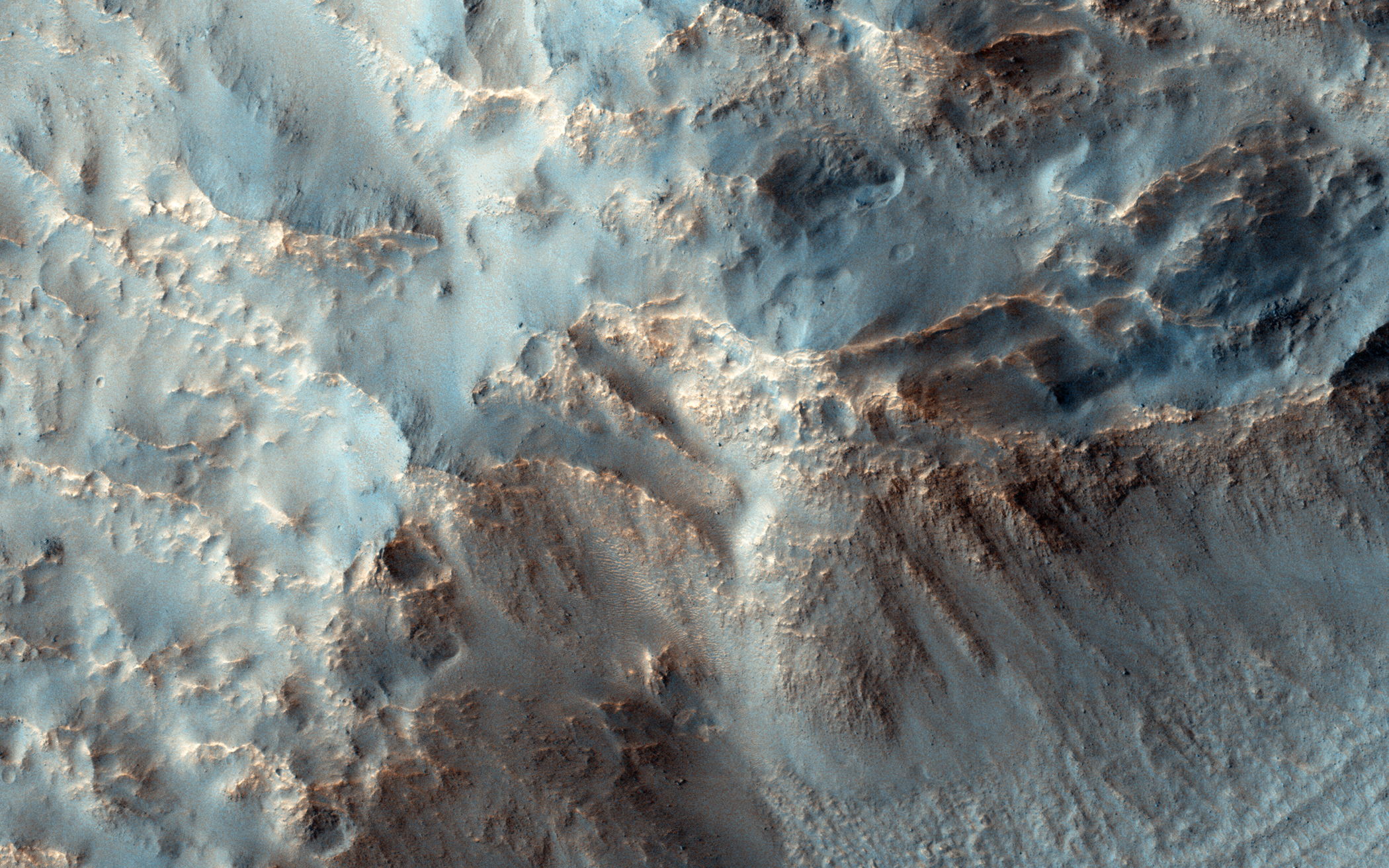 An image of the southeast rim of Hale crater, acquired on Nov. 13, 2014.