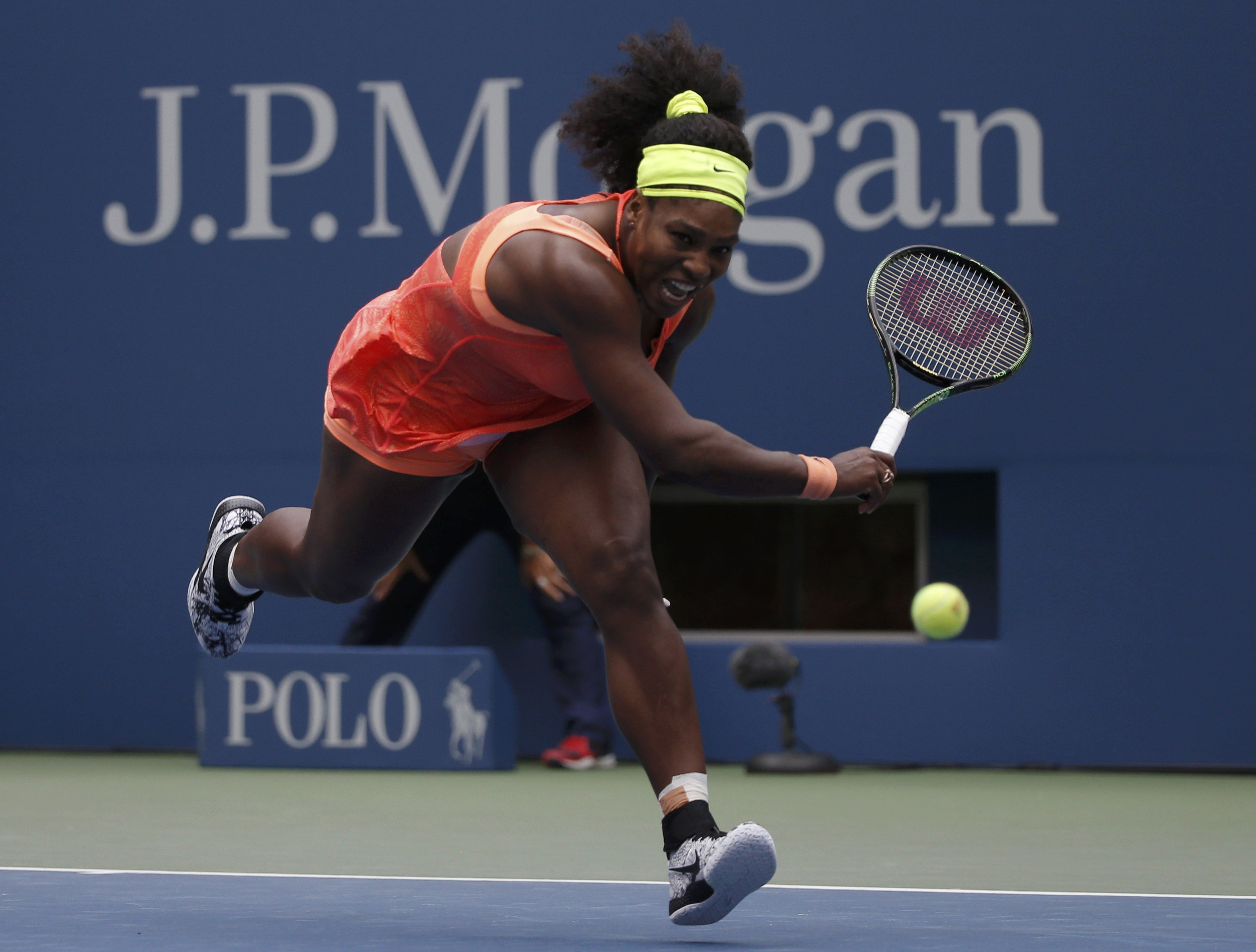 Serena Williams chases down a return from Roberta Vinci of Italy in the third set during their women's singles semi-final match at the U.S. Open Championships tennis tournament on Sept. 11, 2015 in New York City.
