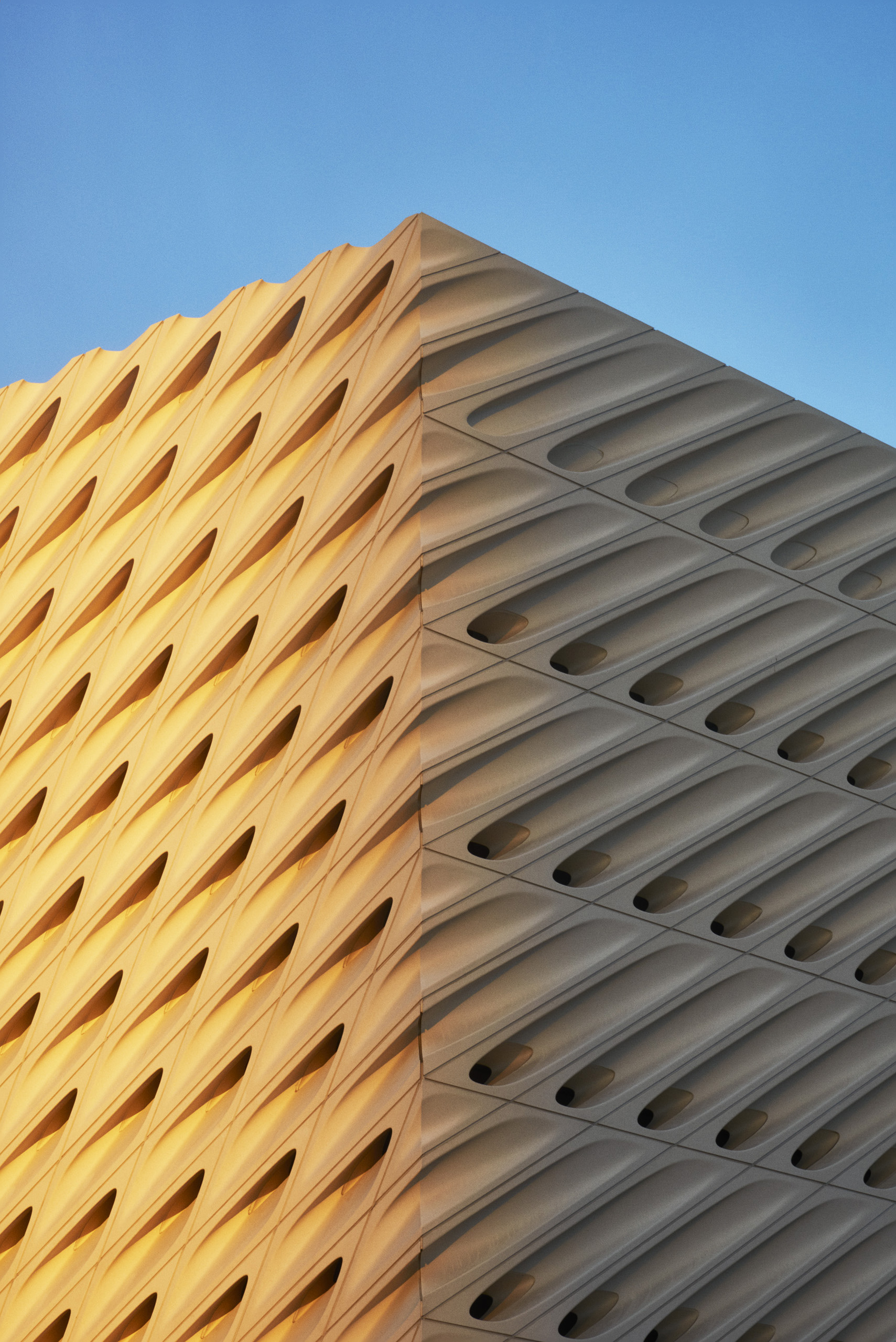 The exterior of the Broad Museum in Los Angeles, designed by Diller Scofidio + Renfro, on Sept. 18th, 2015.