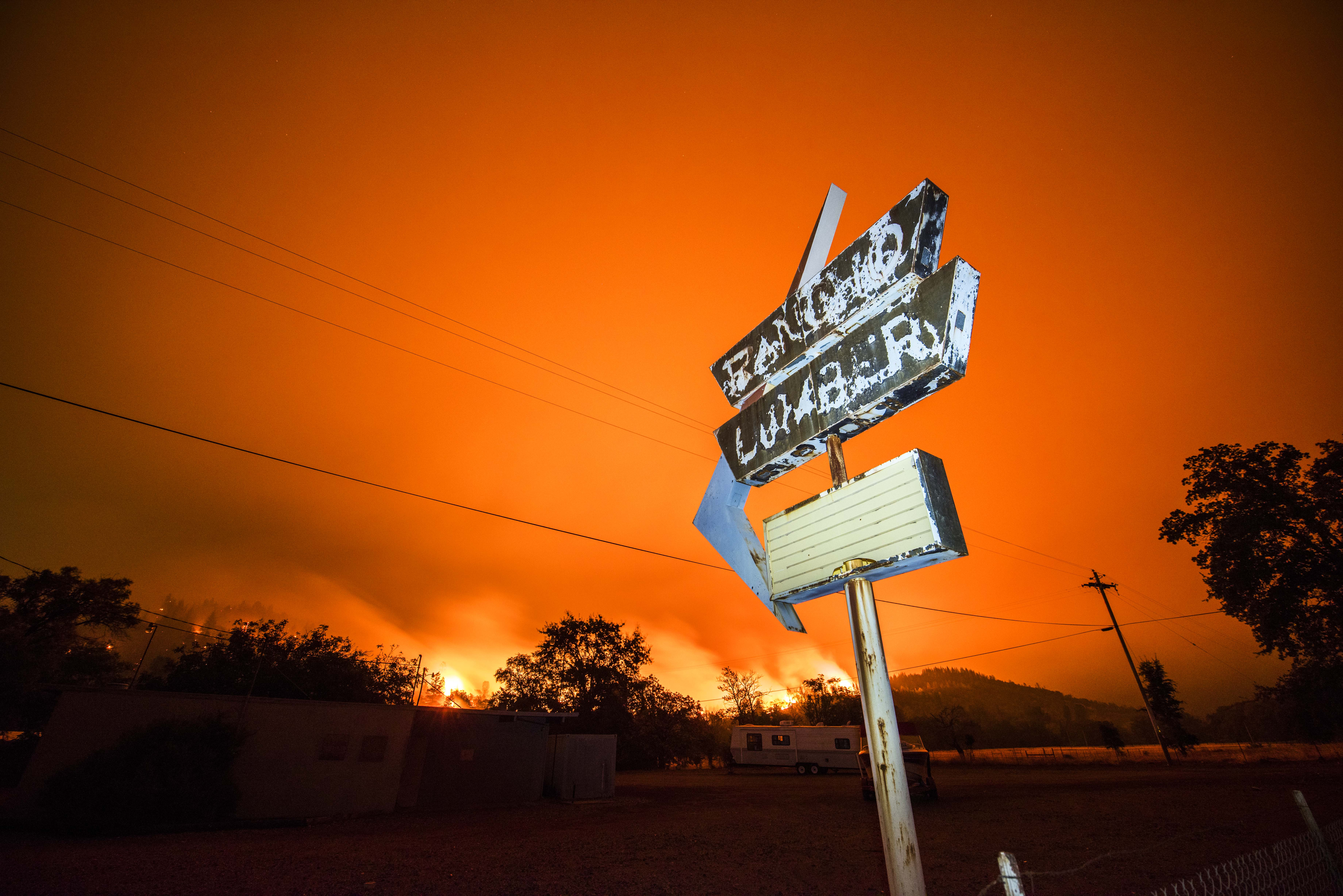 The Valley Fire burns off Highway 29 south of Middletown, Calif on Sept. 13, 2015.                                                              Valley Fire in Lake and Sonoma Counties Sunday September 13th, 2015. As of Sunday evening the fire had burned over 50,000 acres and was 0% contained.