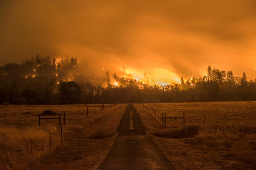 The Valley Fire burns off Highway 29 Sunday evening. Valley Fire in Lake and Sonoma Counties Sunday September 13th, 2015. As of Sunday evening the fire had burned over 50,000 acres and was 0% contained. The Associated Press reported that at least one person was killed due to the fire.