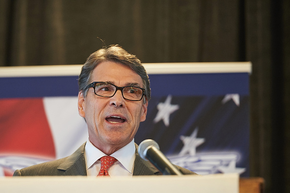 Republican Presidential Nominee Governor Rick Perry (TX) speaks to the crowd during the Eagle Forum's  Eagle Council Event at the Marriott St. Louis Airport Hotel in St. Louis, Missouri on September 11, 2015.