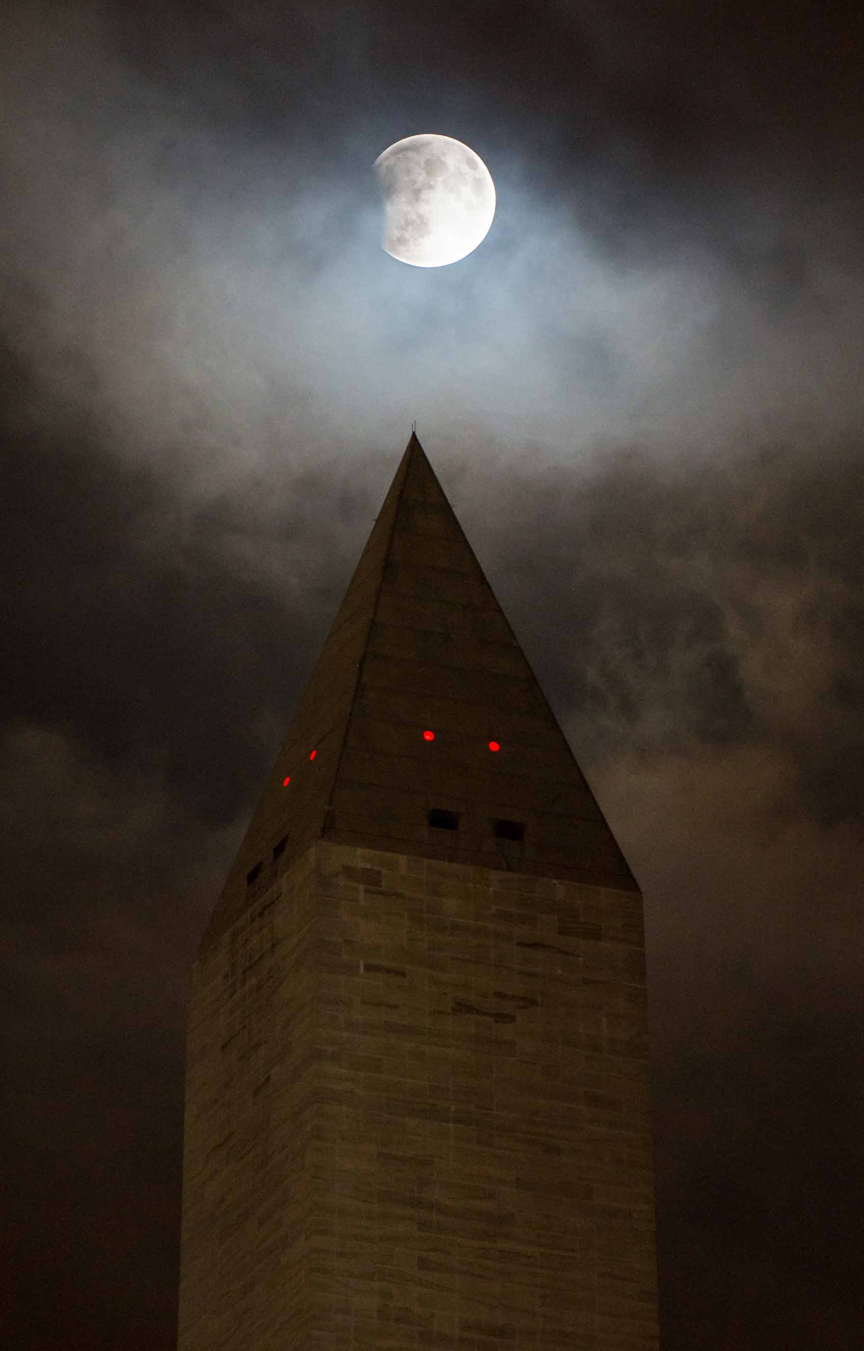 The super moon behind the Washington Monument on Sept. 27, 2015 in Washington.