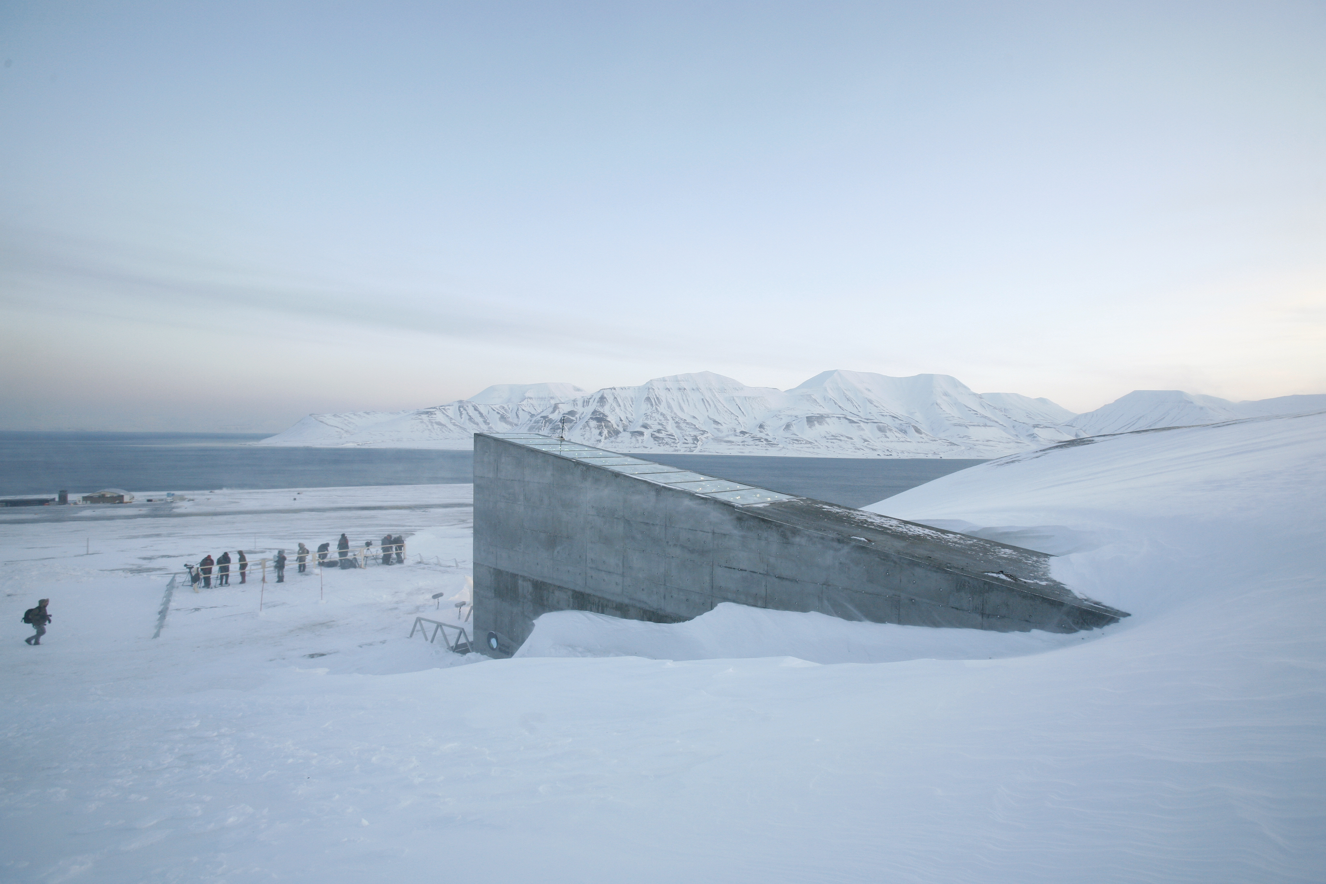 Television crews stand outside the Global Seed Vault before the opening ceremony in Longyearbyen February 26, 2008.