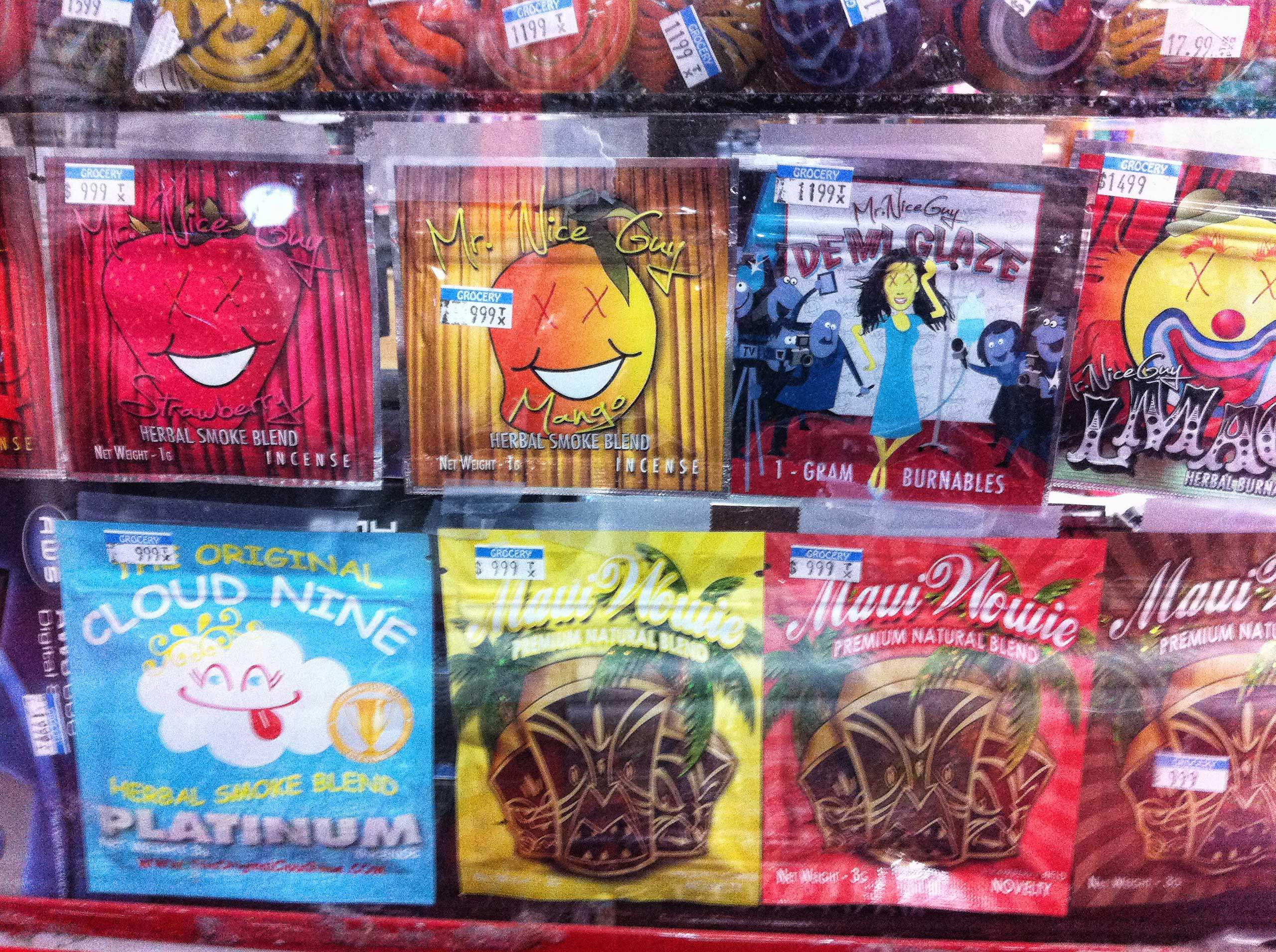 Synthetic marijuana, sold in colorful packages with names like Cloud Nine, Maui Wowie and Mr. Nice Guy, sits behind the glass counter at a Kwik Stop.