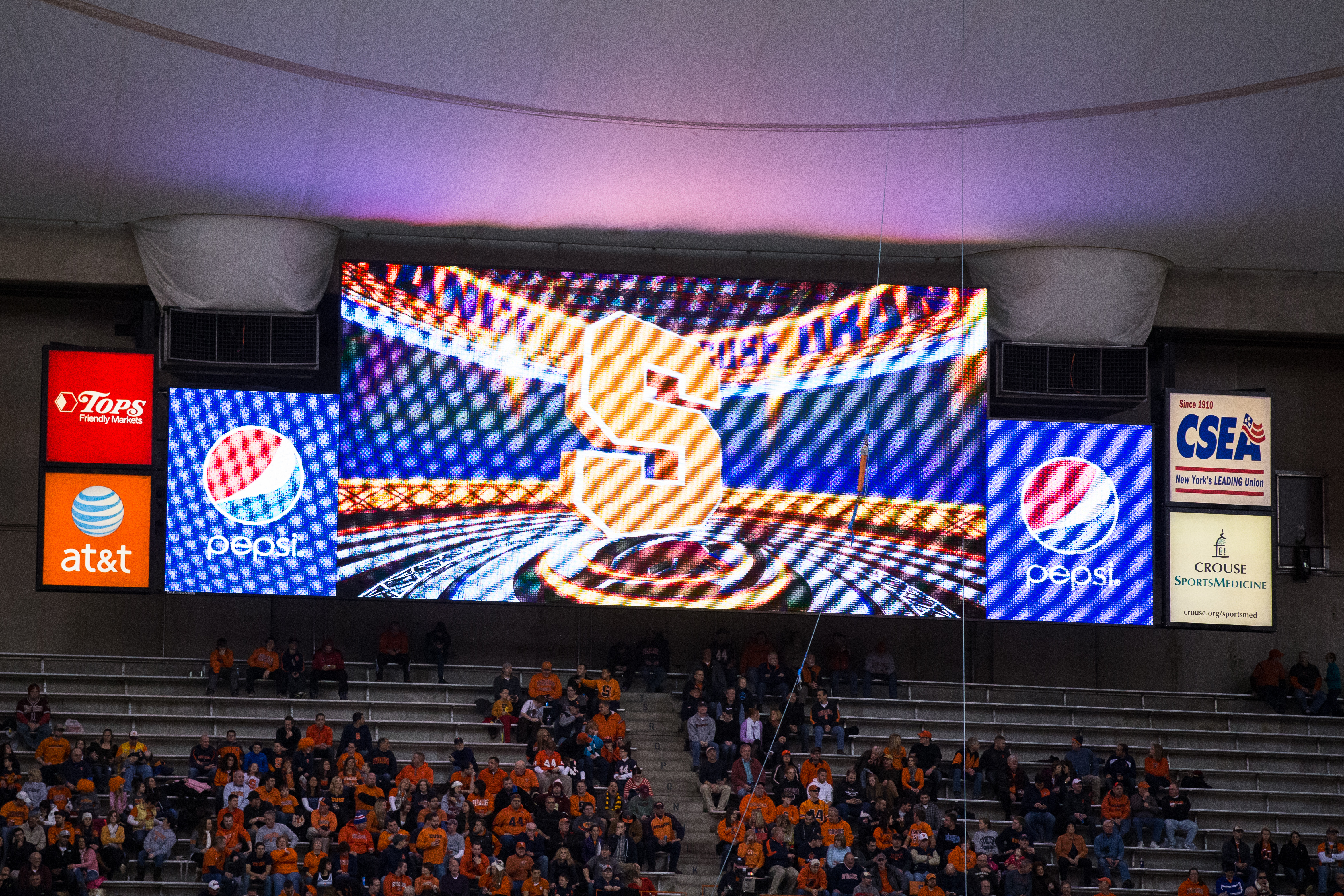 Advertisements in the Carrier Domeon on Nov. 30, 2013 at the Carrier Dome in Syracuse, New York.