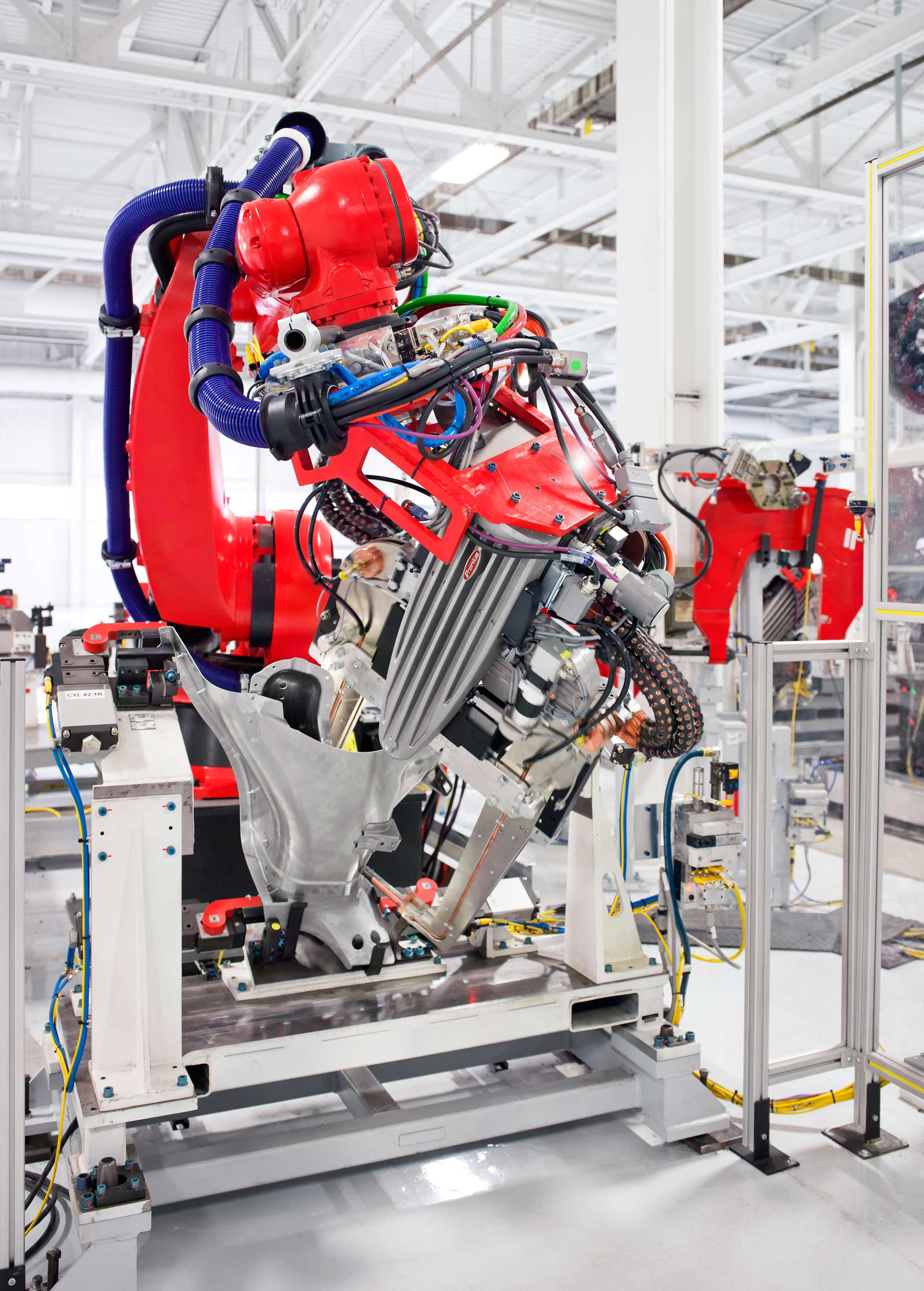A machine used on the assembly line at the Tesla Factory in Fremont, Calif.