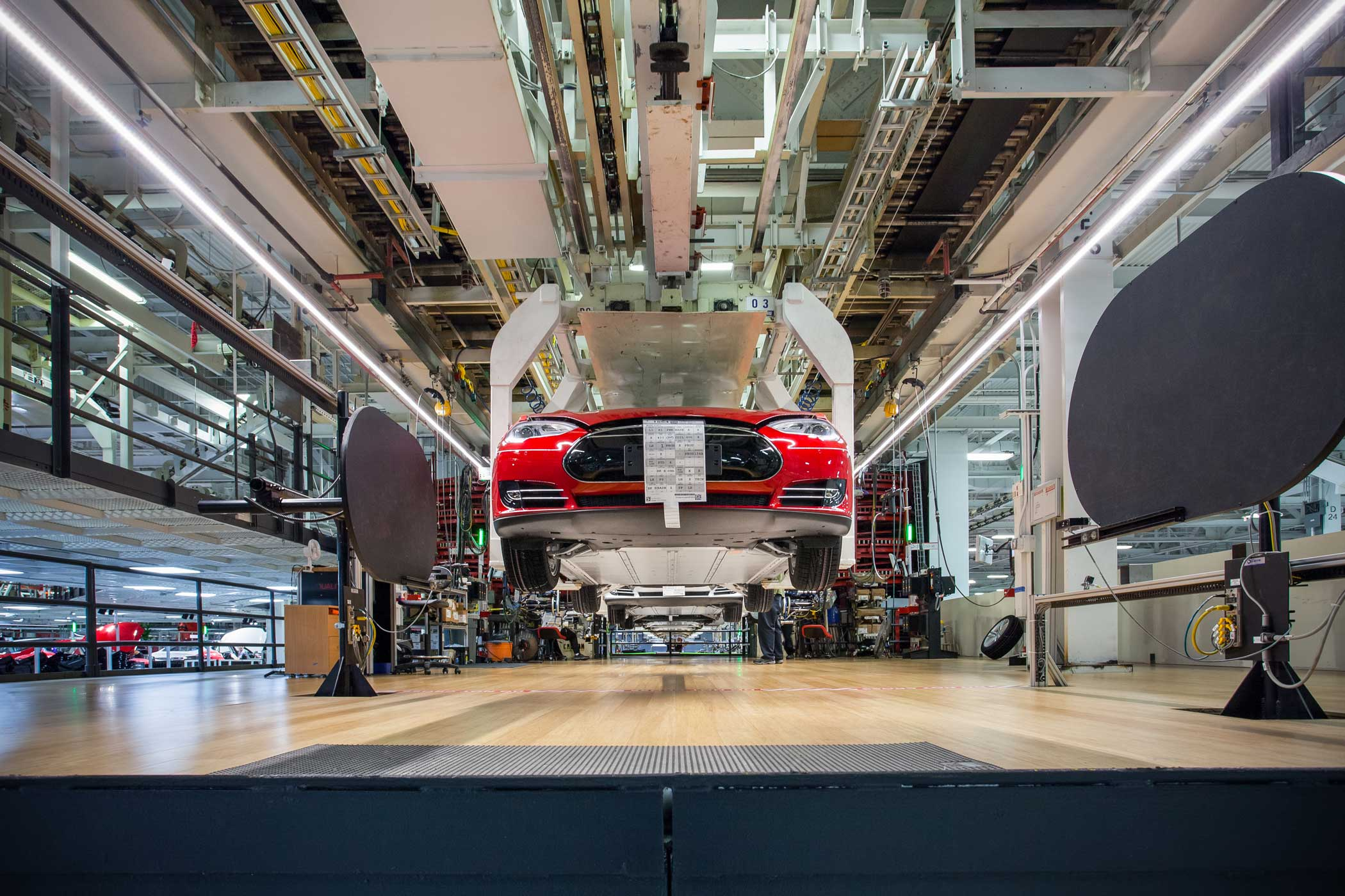 A Model S car on the assembly line at the Tesla Factory in Fremont, Calif.