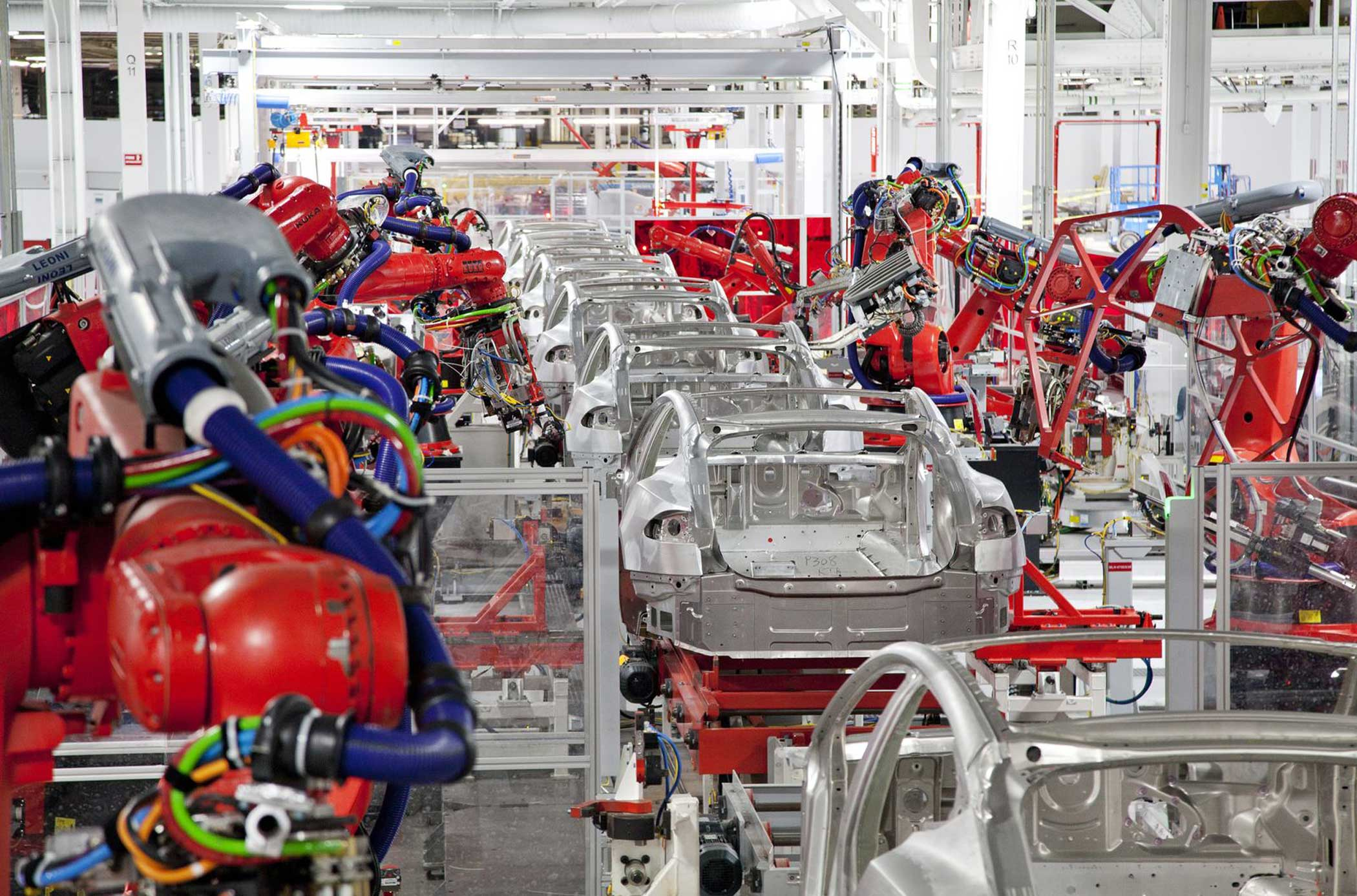 Model S cars on the assembly line at the Tesla Factory in Fremont, Calif.