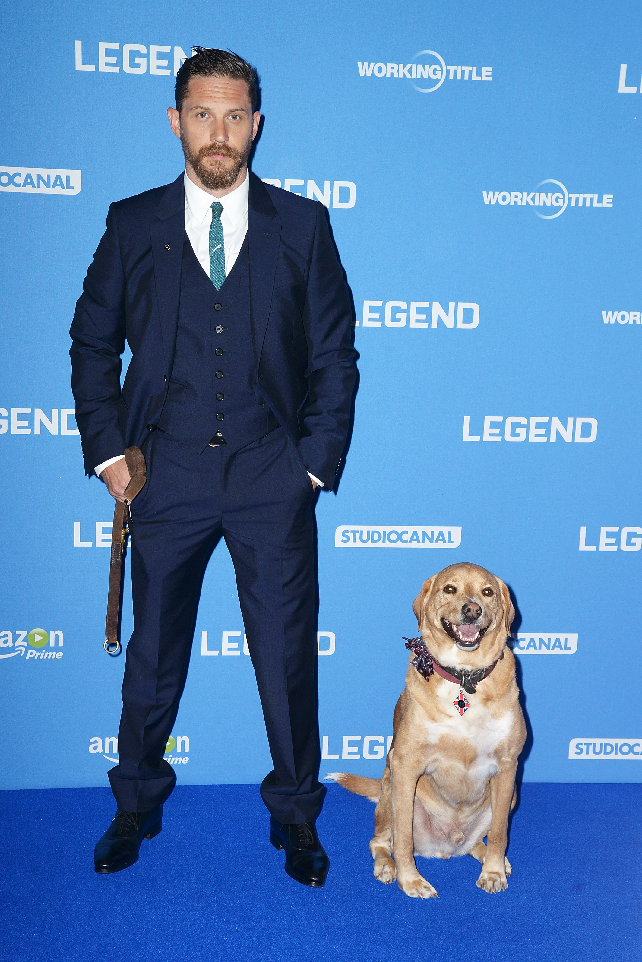 Tom Hardy and dog 'Woody' attend the U.K. Premiere of  Legend  at Odeon Leicester Square on September 3, 2015 in London, England.