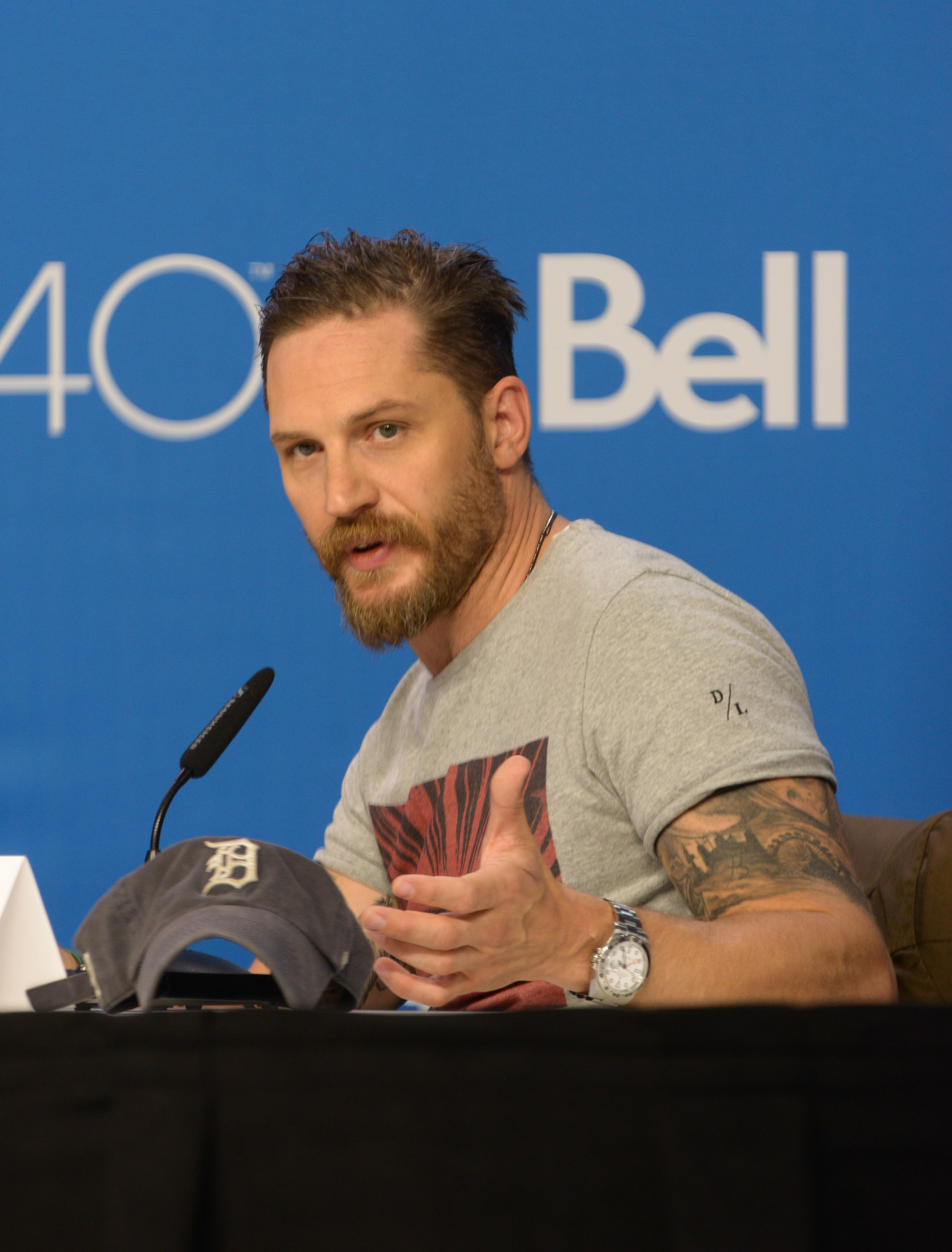 Actor Tom Hardy speaks during the 'Legend' press conference  at TIFF Bell Lightbox in Toronto on Sept. 13, 201.5