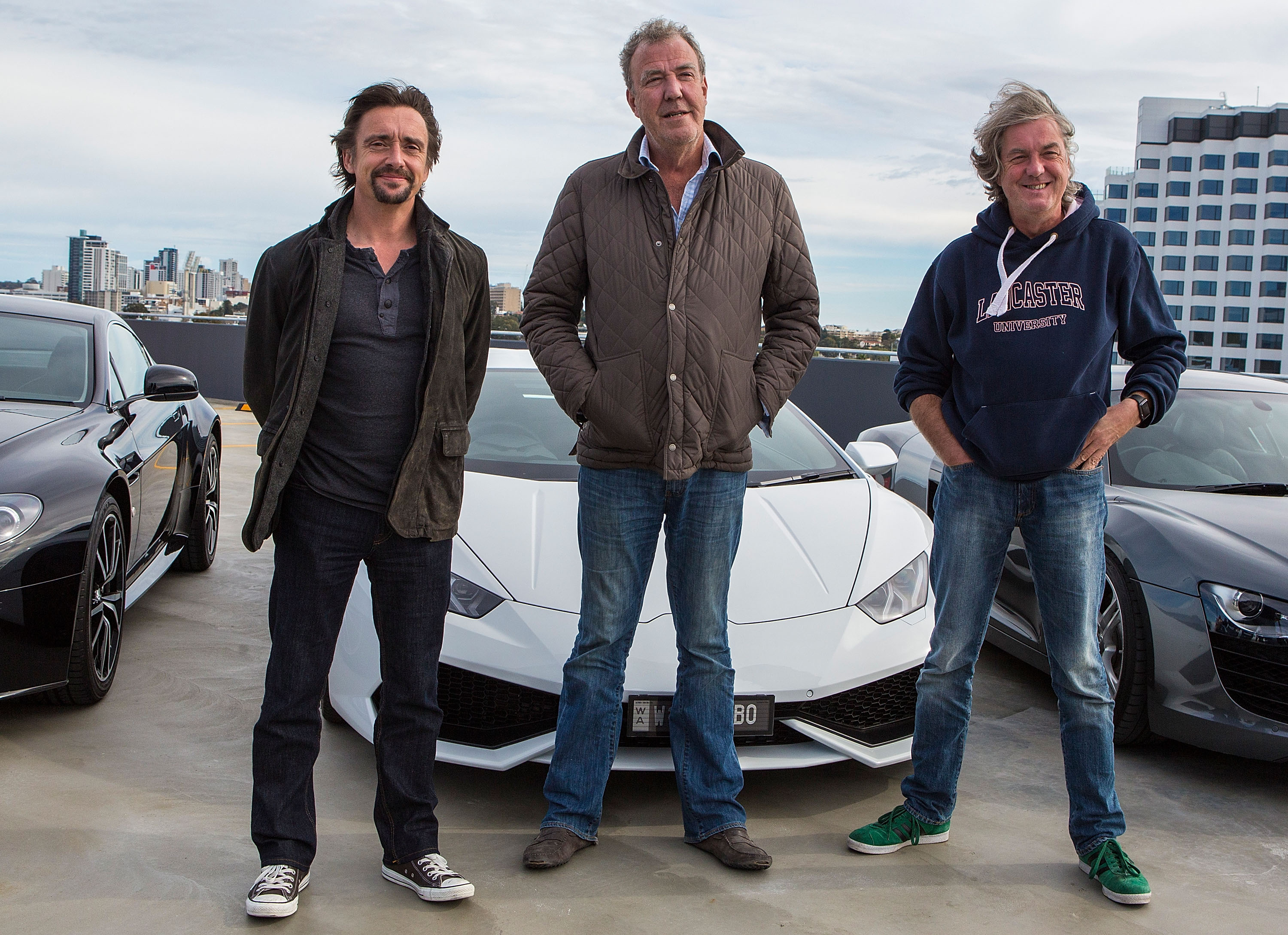 Jeremy Clarkson, Richard Hammond and James May during a press event on July 17, 2015 in Perth, Australia.