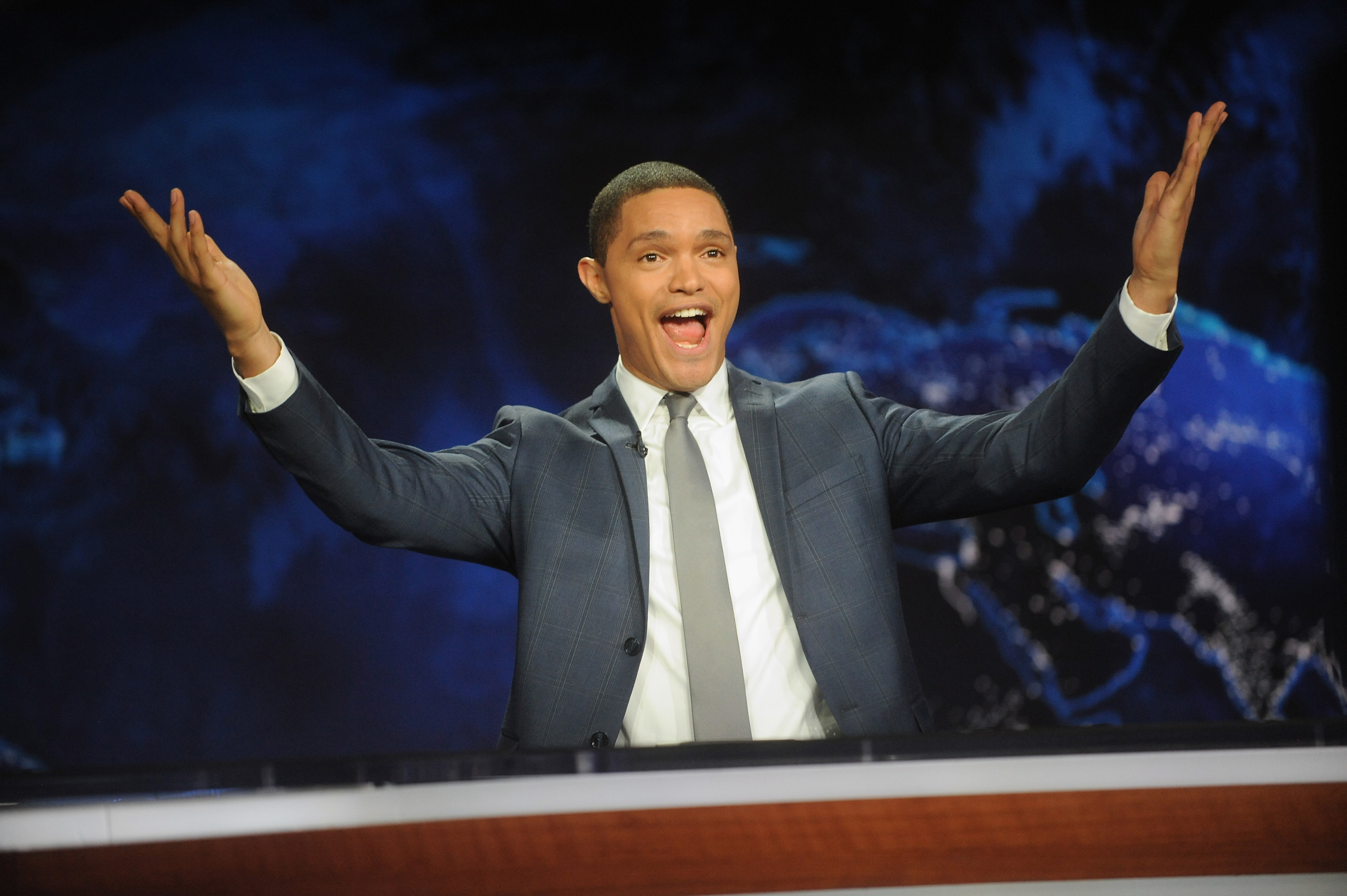 Trevor Noah hosts the  The Daily Show with Trevor Noah  Premiere at The Daily Show with Trevor Noah Studio in New York City, on Sept. 28, 2015
