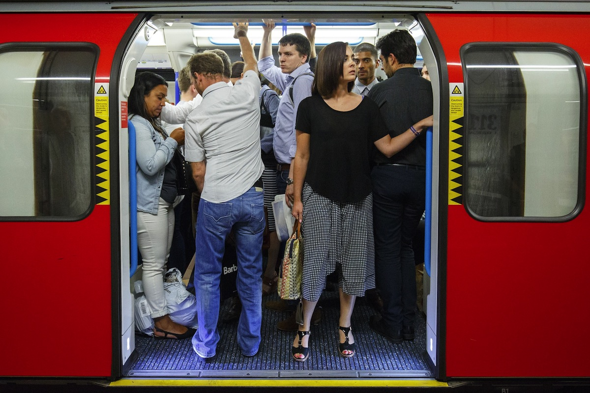 Commuters queuing for tube trains at Oxford Circus station ahead of a Tube strike on Aug. 5, 2015.