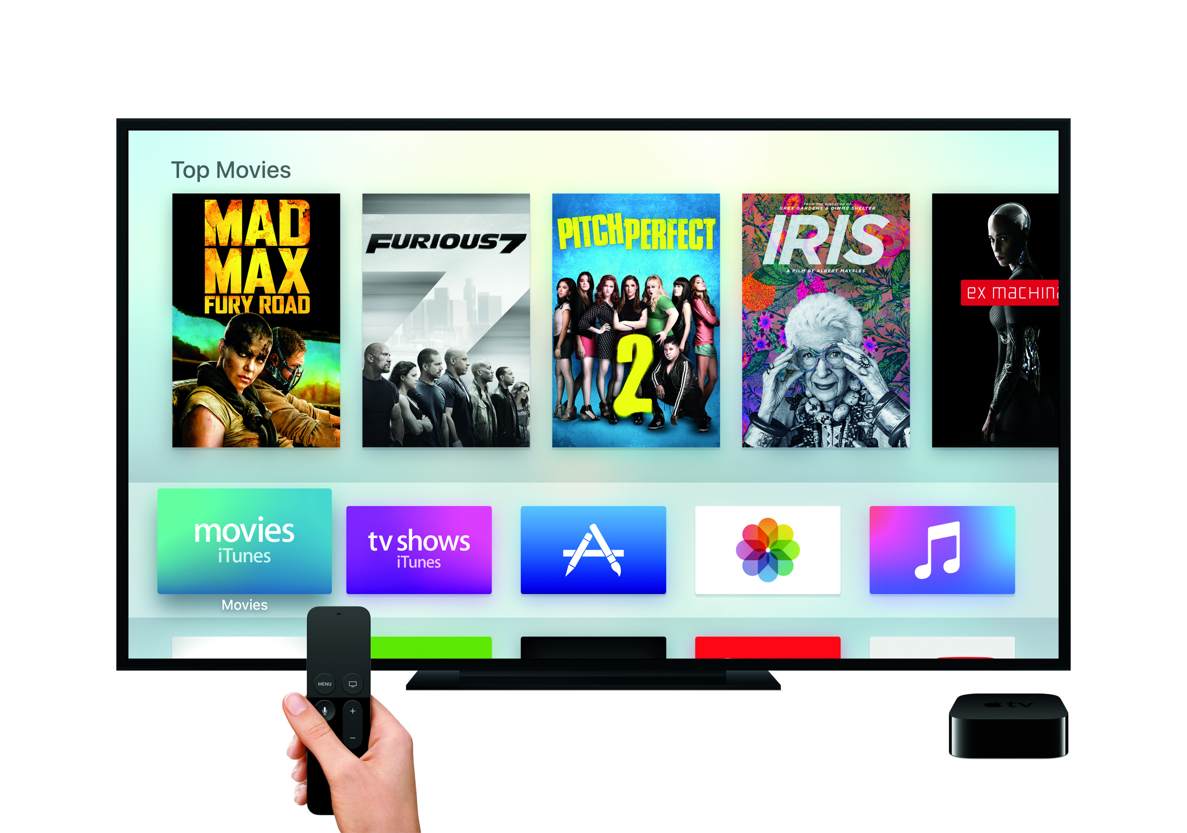 Siri remote, tvOS, and the App Store running on the new Apple TV