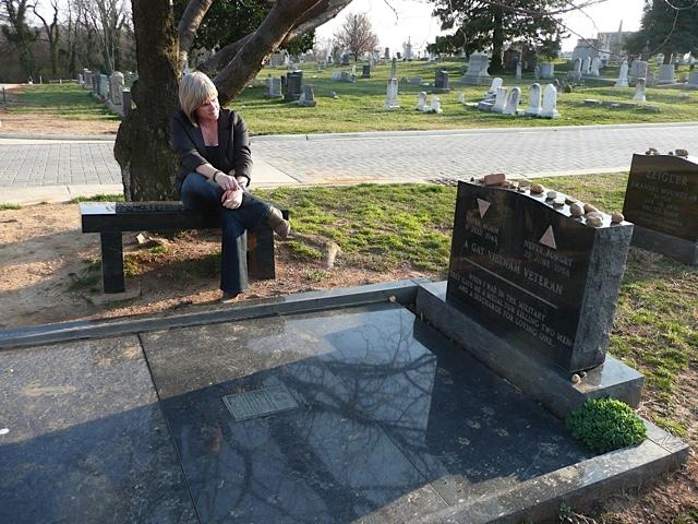 Margaret Witt at Leonard Matlovich's gravesite