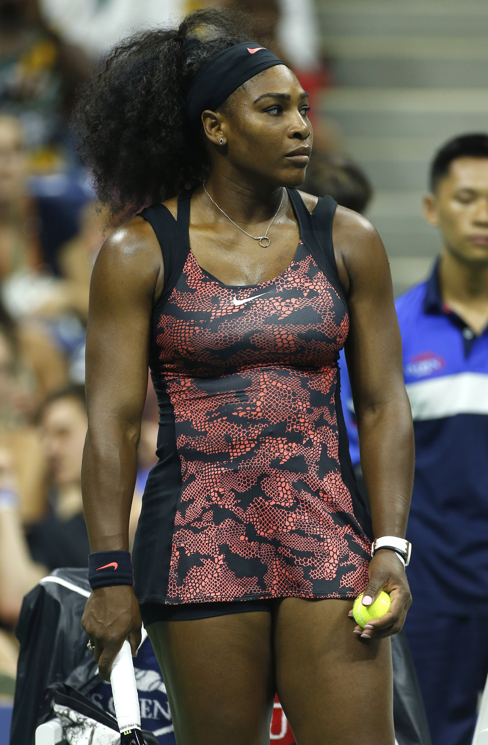 Serena Williams of USA competes on Day 1 of the 2015 US Open in New York on Aug. 31, 2015.