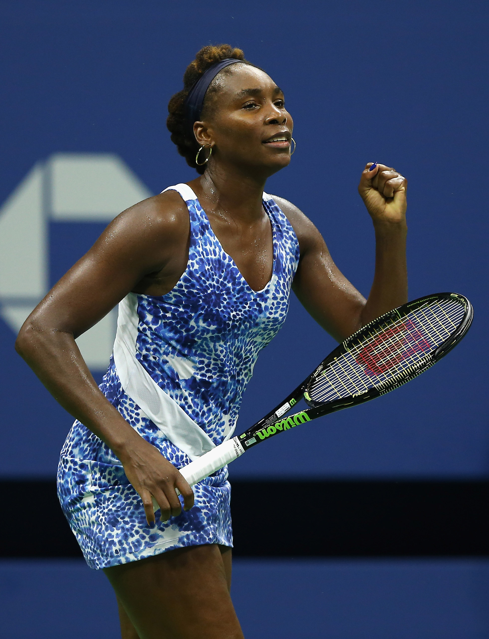 Venus Williams of the USA celebrates her match win over Irina Falconi of the USA on Sept. 2, 2015.